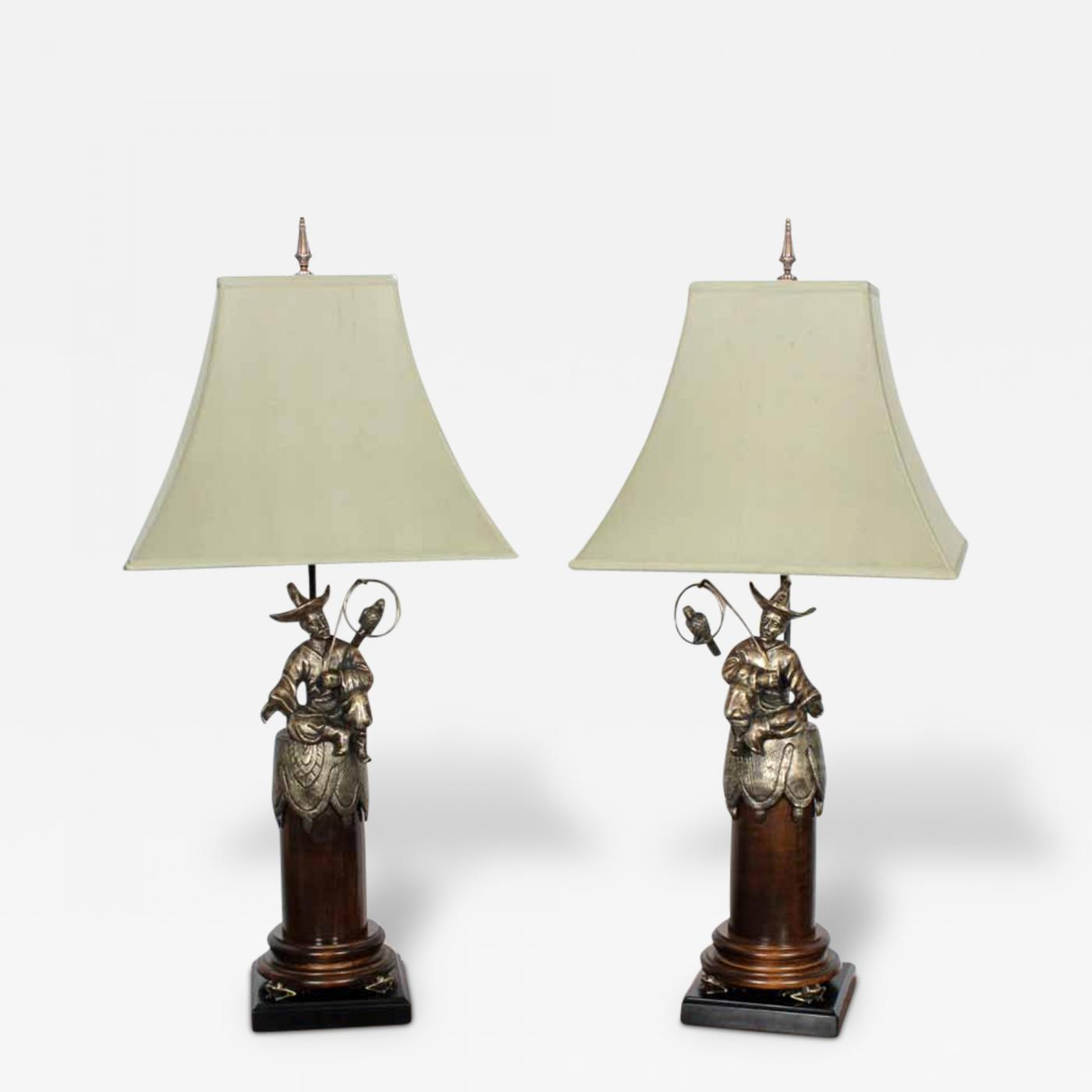 Pair Of Chinoiserie Style Men With Parrots Table Lamps