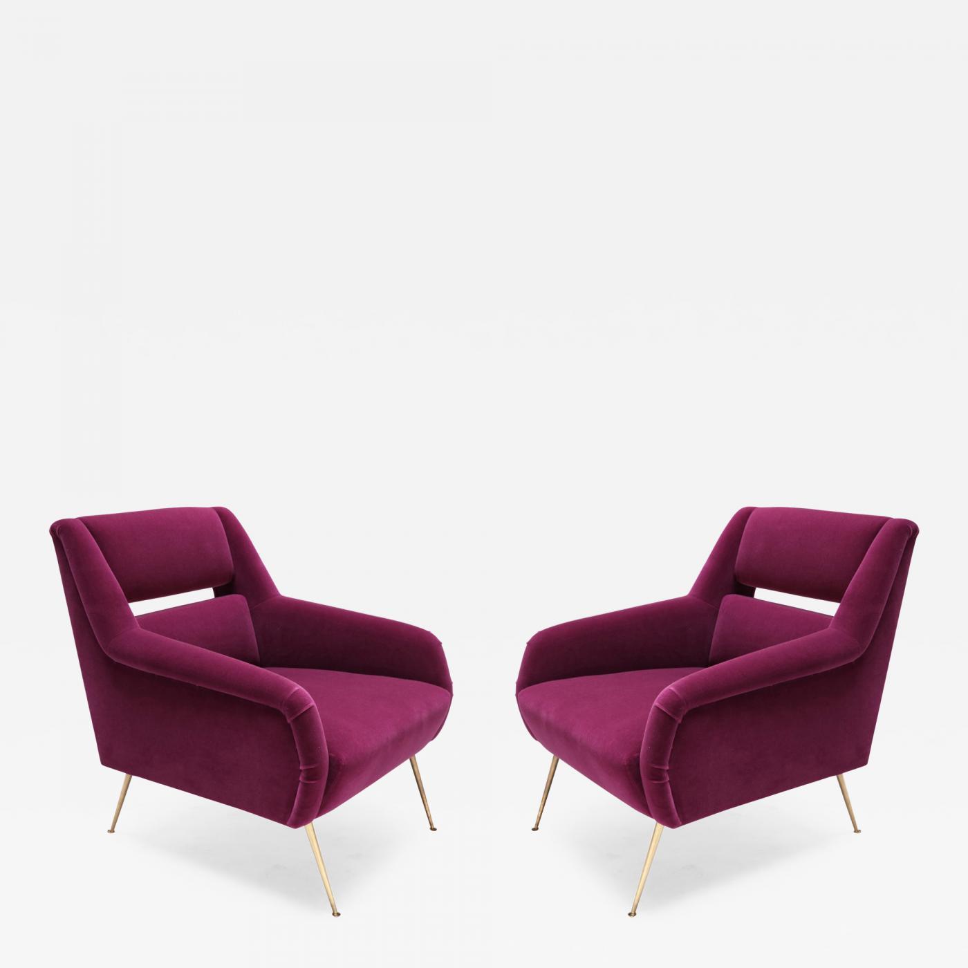 Pair of Custom 1960s Italian Style Armchairs in Fuchsia Mohair
