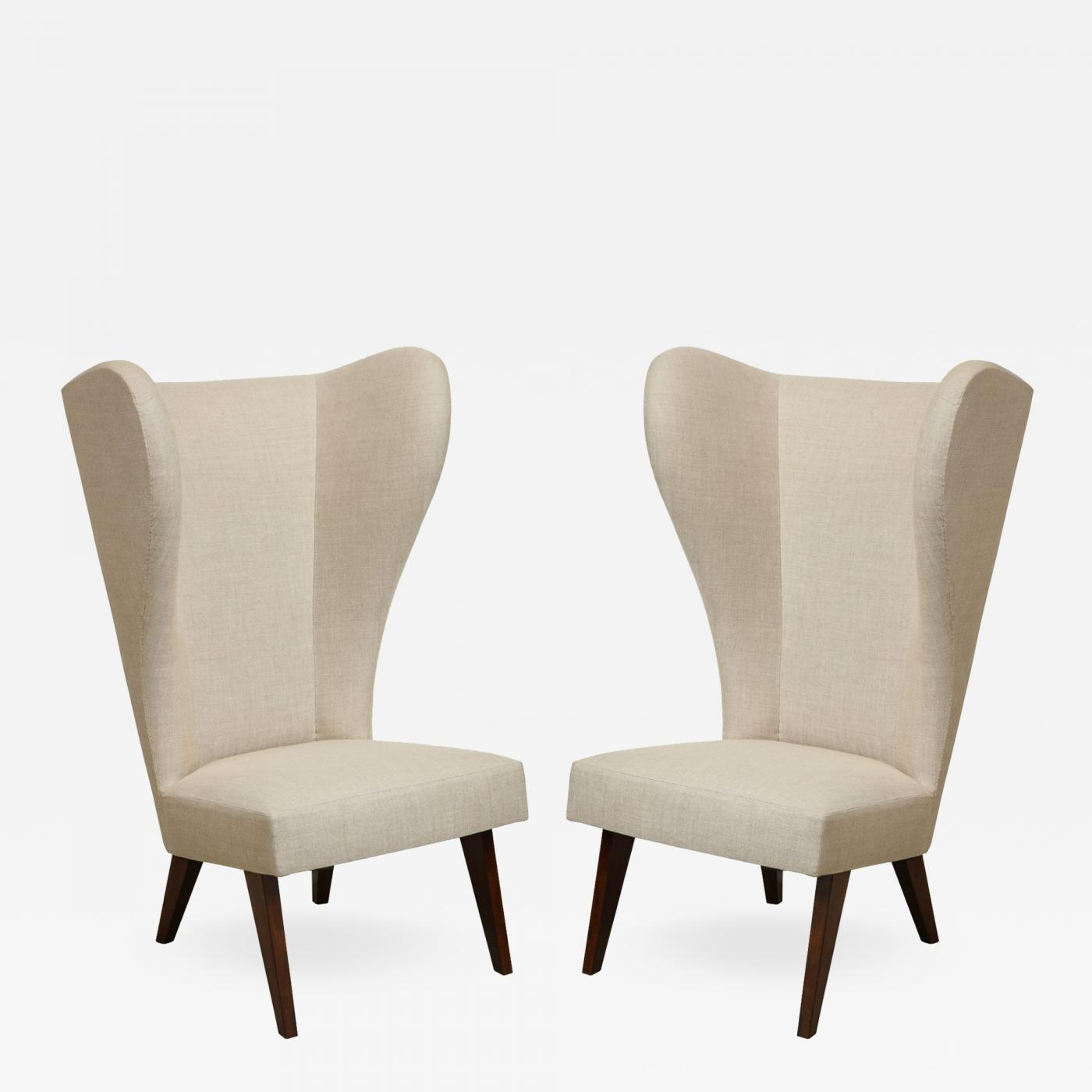 Pair Of Exaggerated Wingback Chairs France C 1950