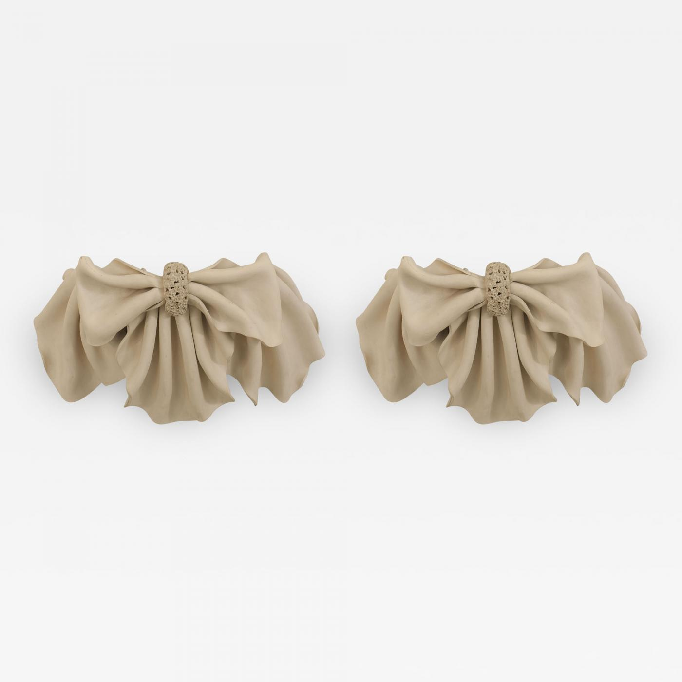 Pair Of French 1940s Beige Plaster Wall Sconces