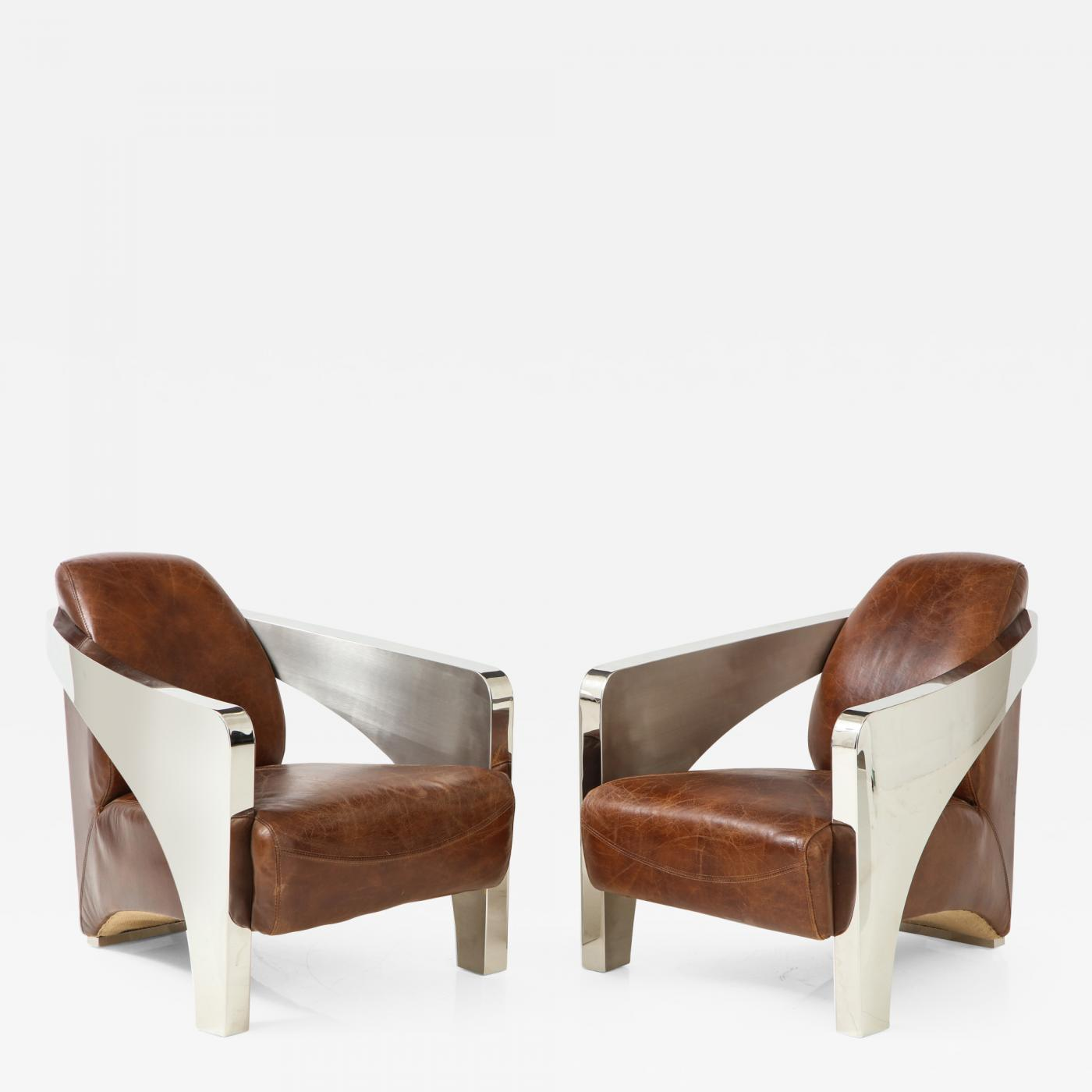 Pair Of French Art Deco Chrome And Leather Aviator Chairs