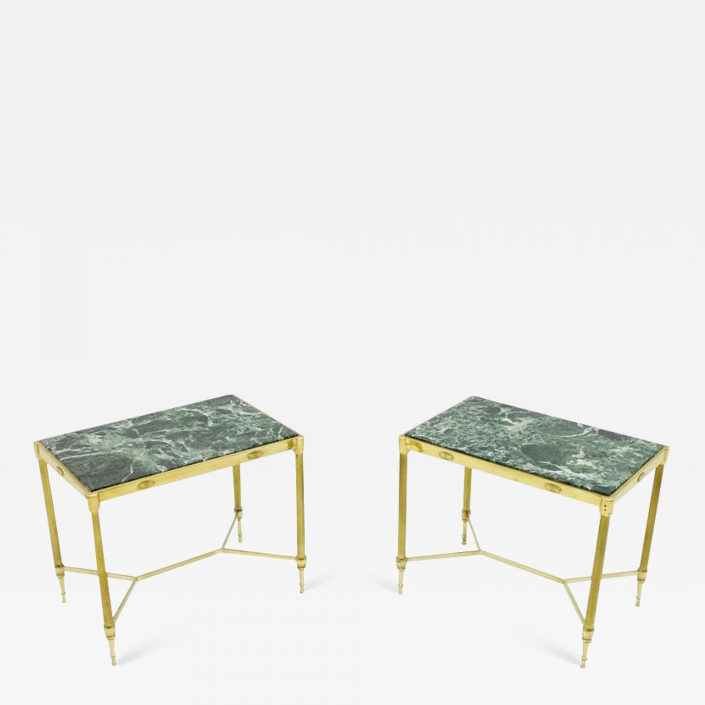 Marble Top Brass Coffee Table.Pair Of Italian Brass Side Tables With Green Marble Top 1950s