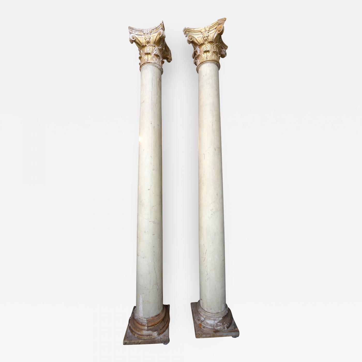 Pair Of Italian Decorative Wood And Gold Leaf Corinthian
