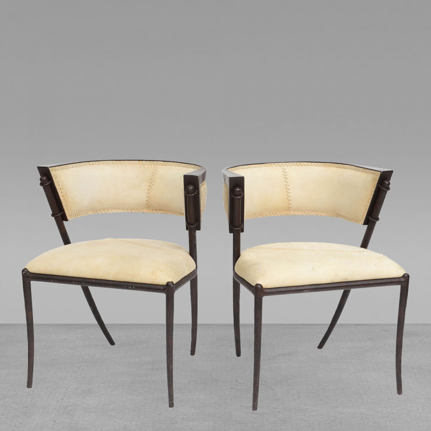 Prime Pair Of Italian Modern Klismos Form Bronze And Leather Upholstered Chairs Unemploymentrelief Wooden Chair Designs For Living Room Unemploymentrelieforg