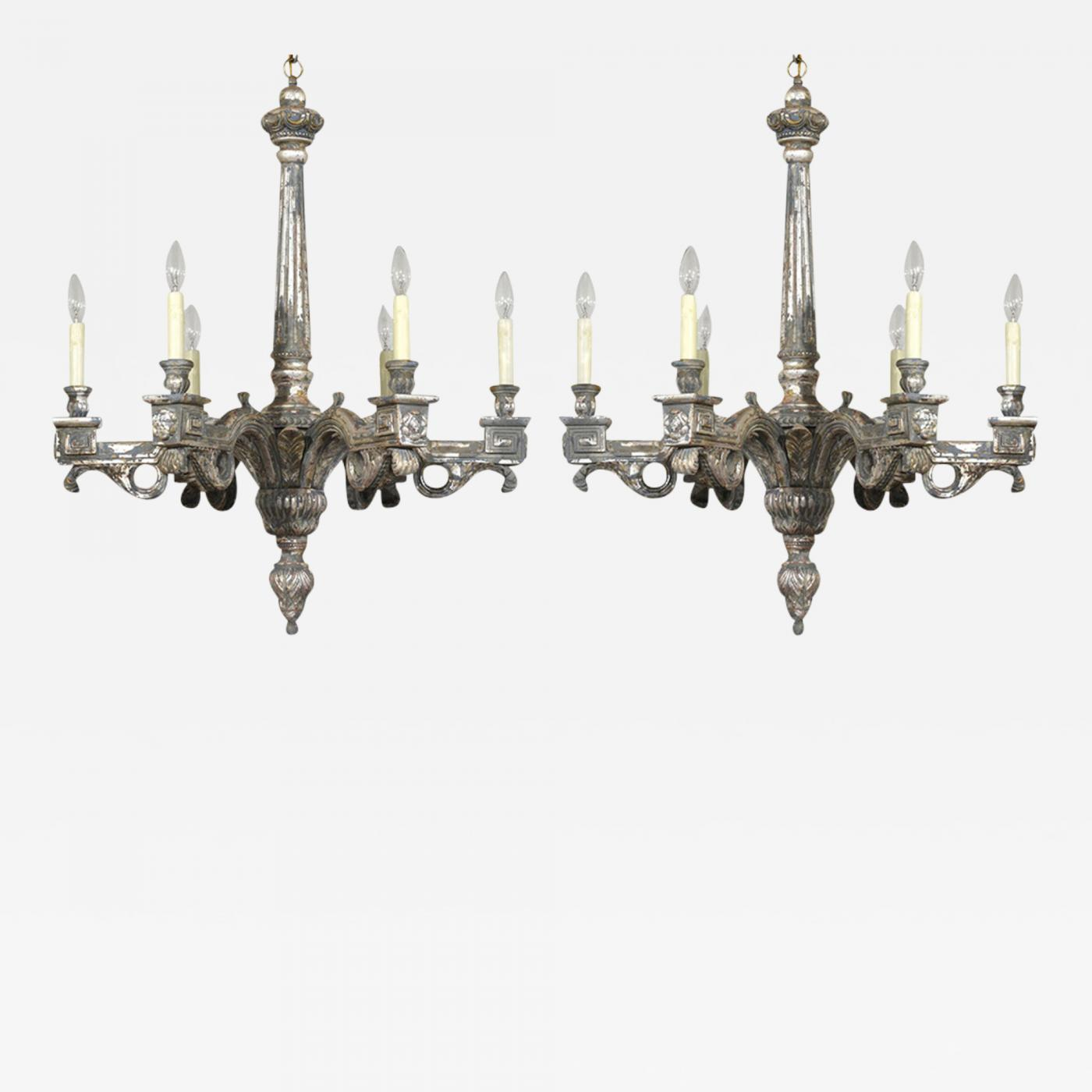 Pair of Italian Neoclassical style Silver Leaf Chandeliers