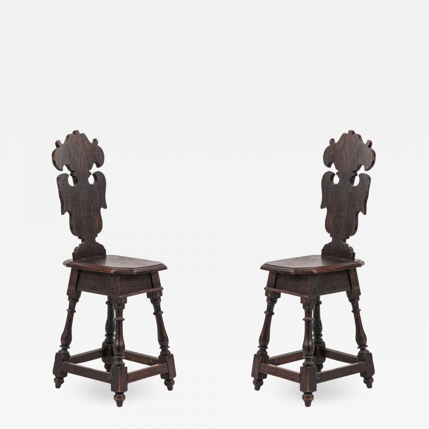 Sgabelli American Style.Pair Of Italian Renaissance Sgabelli Side Chairs