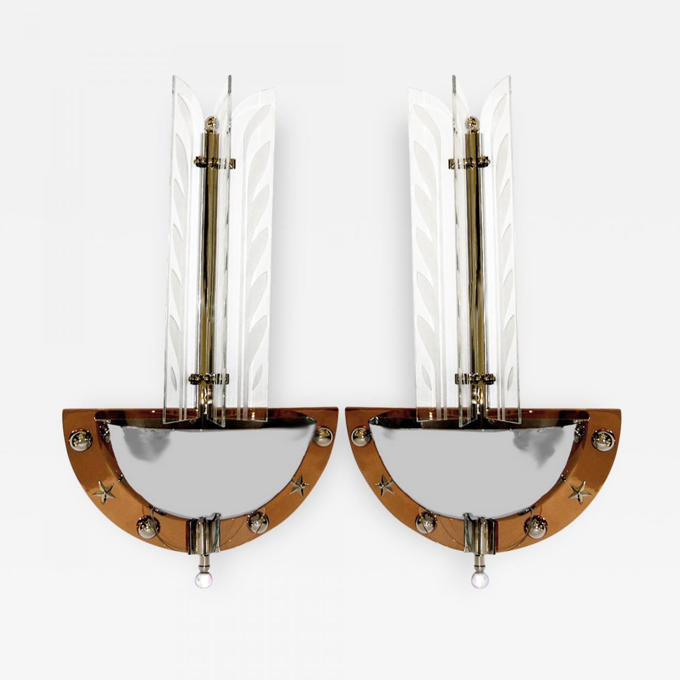 Pair Of Large 1930s American Art Deco Theater Wall Sconces W