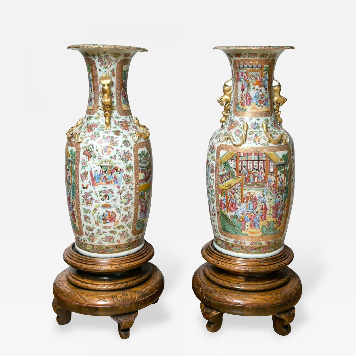 Pair Of Large 19th Century Chinese Cantonese Floor Vases