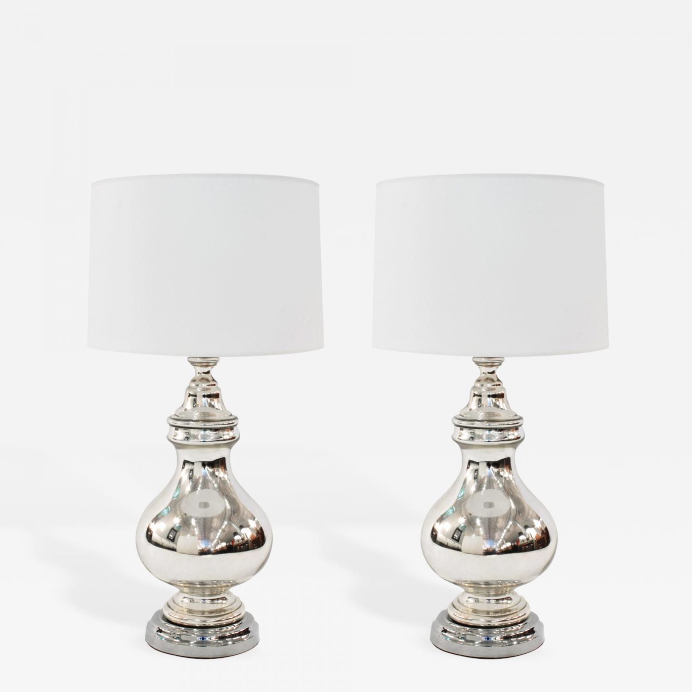 Image of: Pair Of Large Mercury Glass Tear Drop Lamps