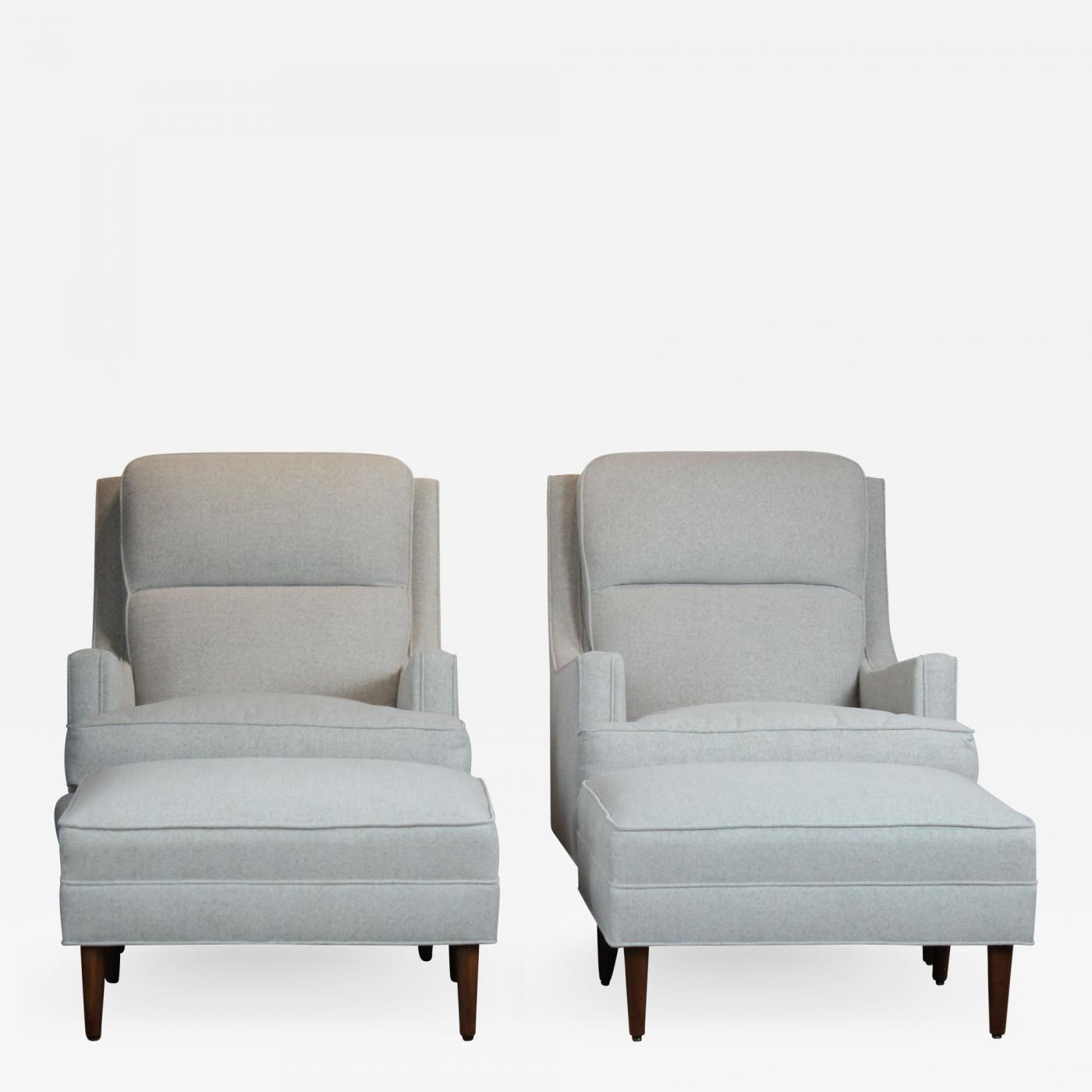 Pair Of Mid Century Chair Ottoman