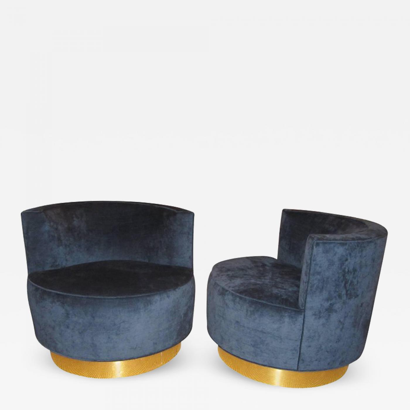 Surprising Pair Of Mid Century Modern Swivel Barrel Chairs Theyellowbook Wood Chair Design Ideas Theyellowbookinfo