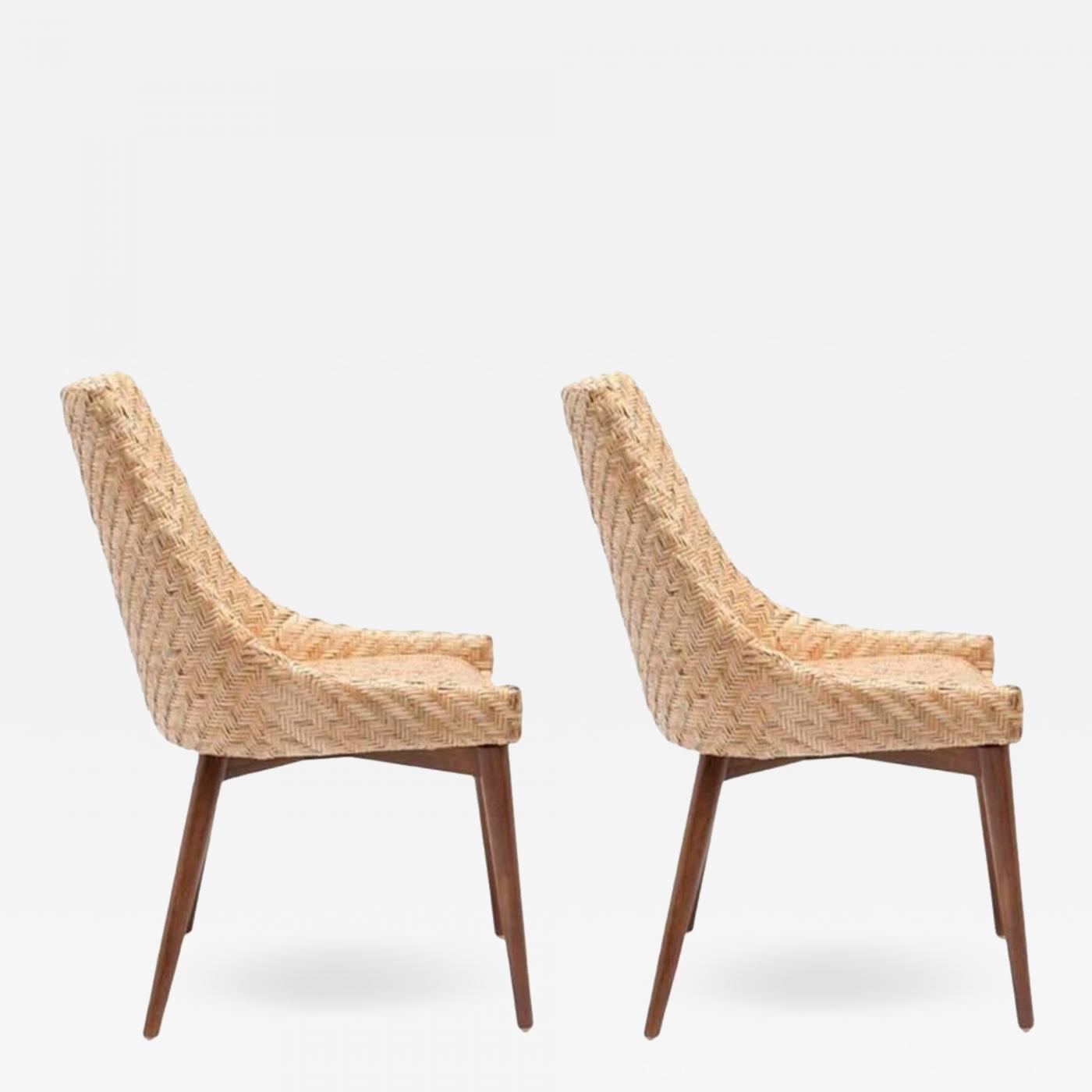. Pair of Modern Seagrass and Cherrywood Chairs