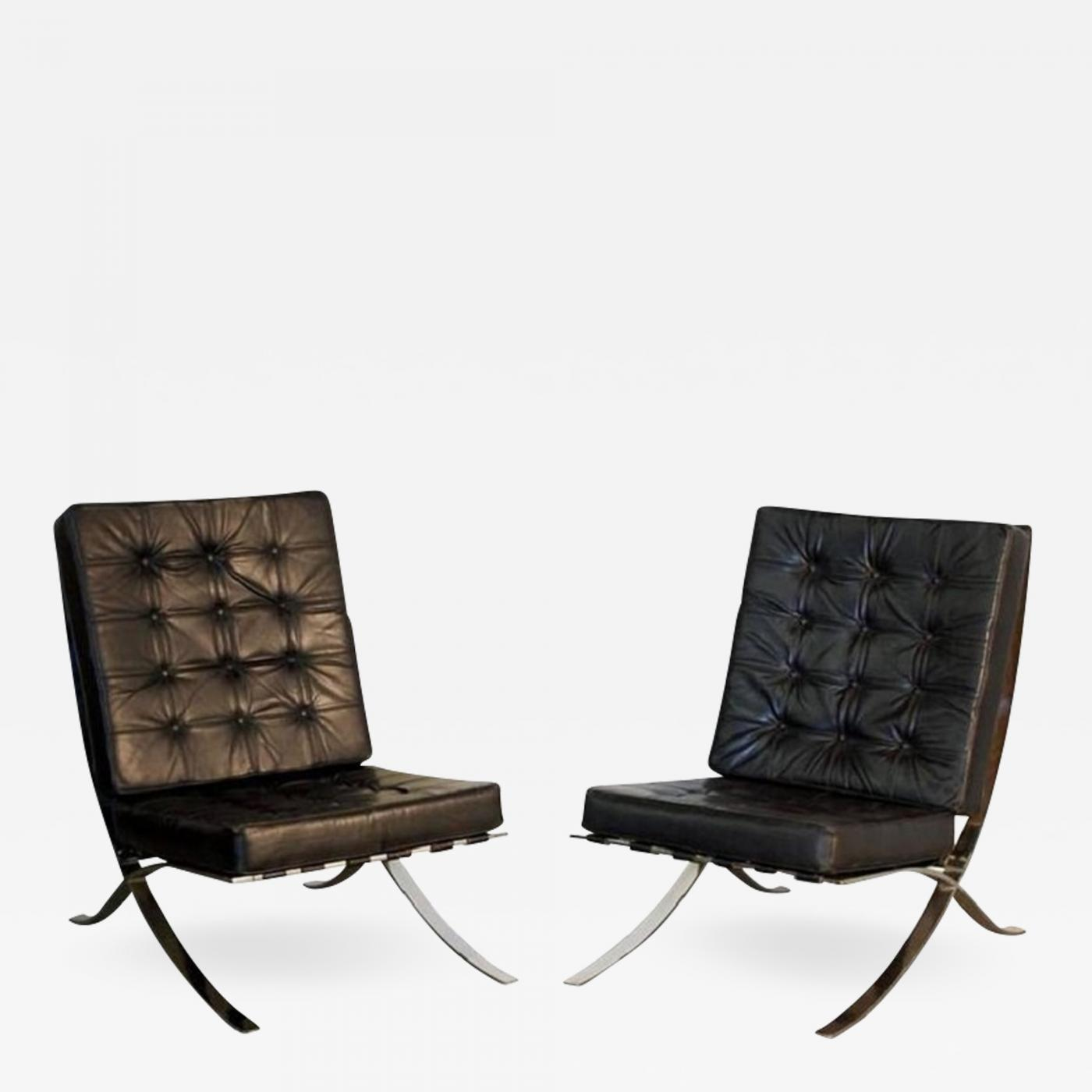 Wondrous Pair Of Oversized French 1970S Barcelona Style Chrome And Leather Chairs Squirreltailoven Fun Painted Chair Ideas Images Squirreltailovenorg