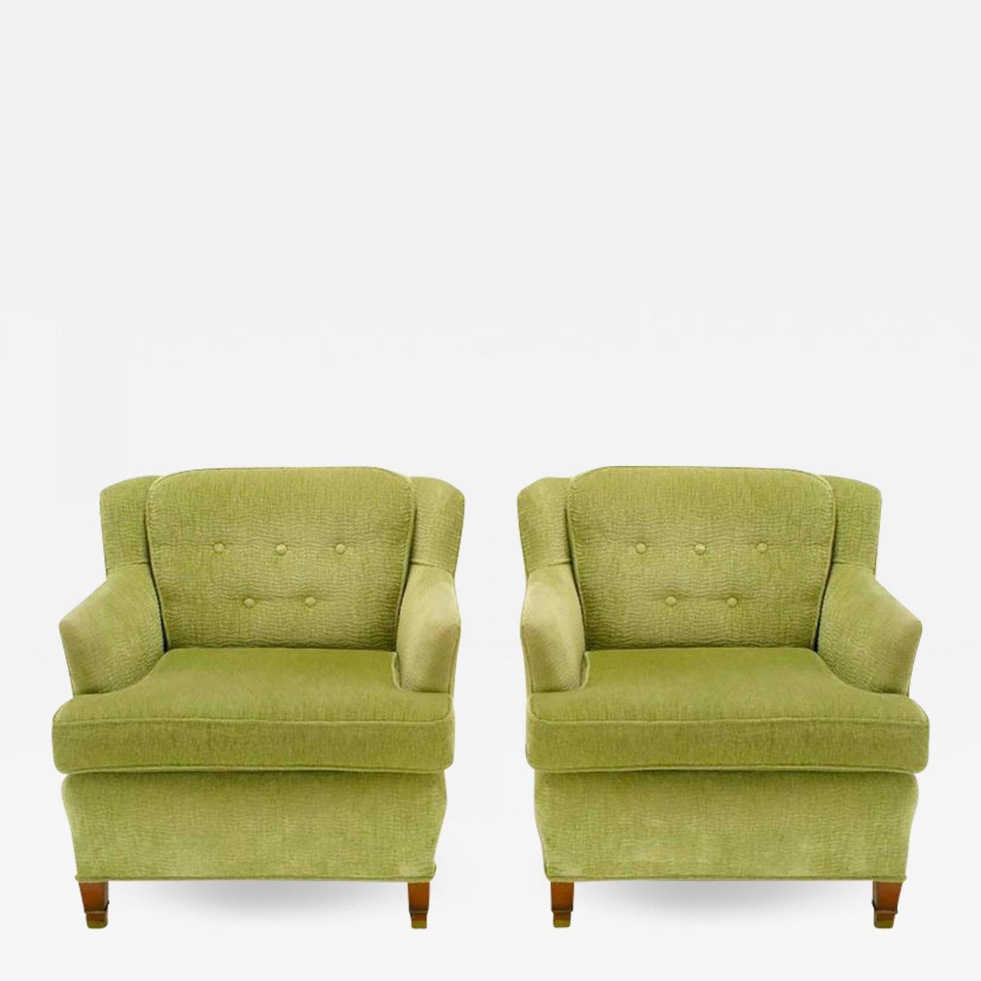 Prime Pair Of Pistachio Green Chenille Button Tufted Low Barrel Back Wing Chairs Alphanode Cool Chair Designs And Ideas Alphanodeonline