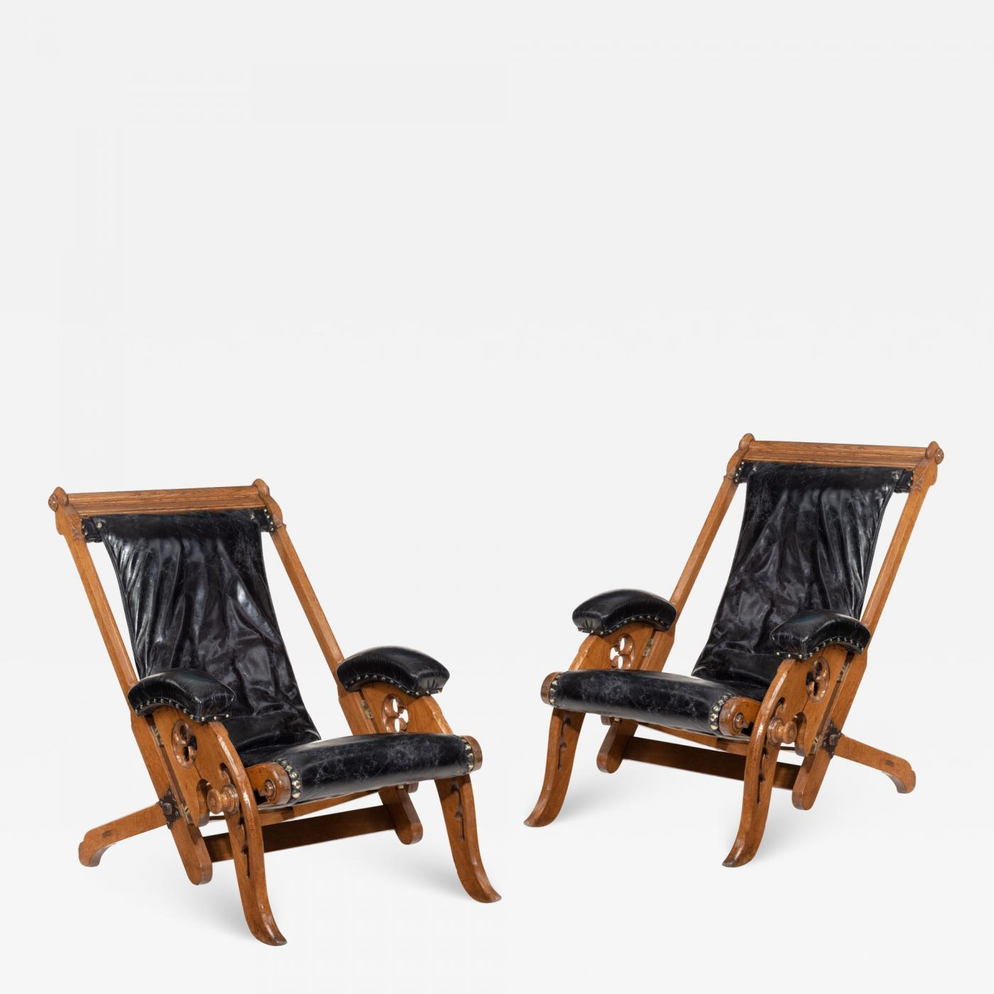 Pair Of Reclining Gothic Oak Library Chairs