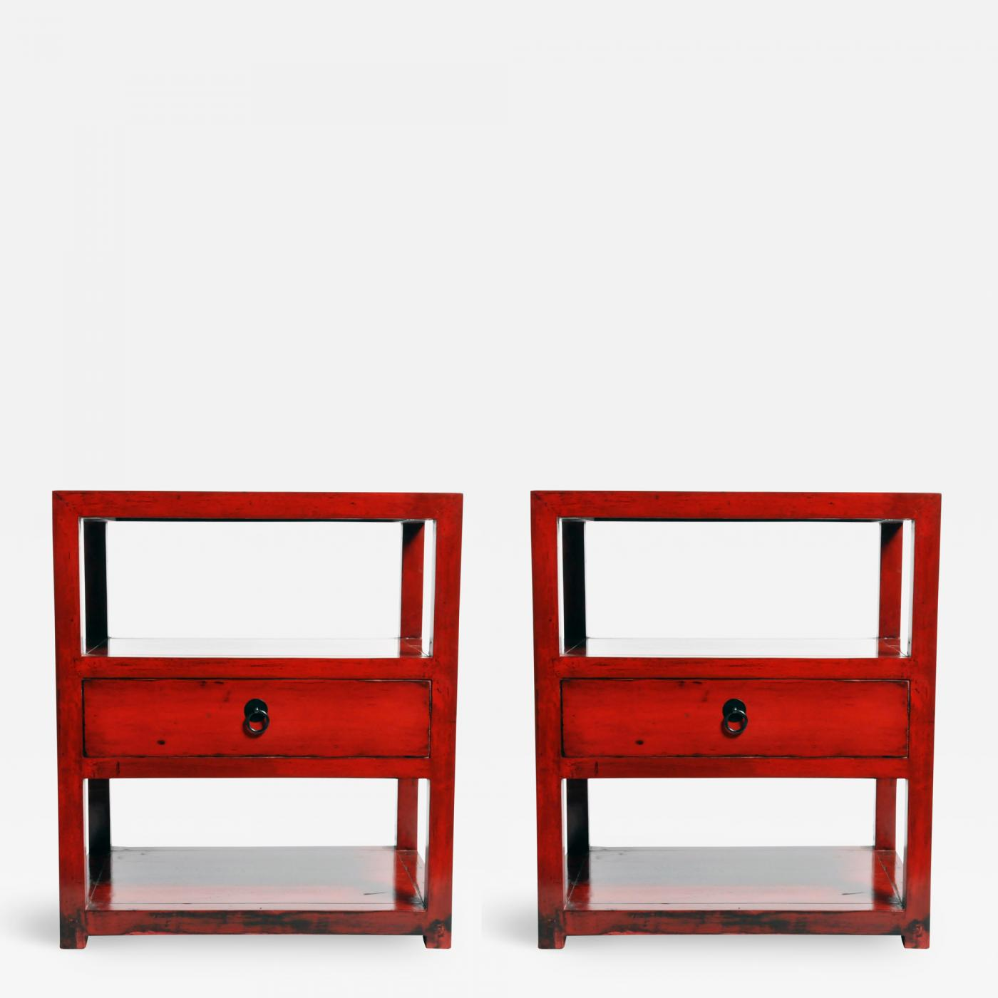 Chinese Side Table.Pair Of Red Lacquered Chinese Side Tables With A Drawer