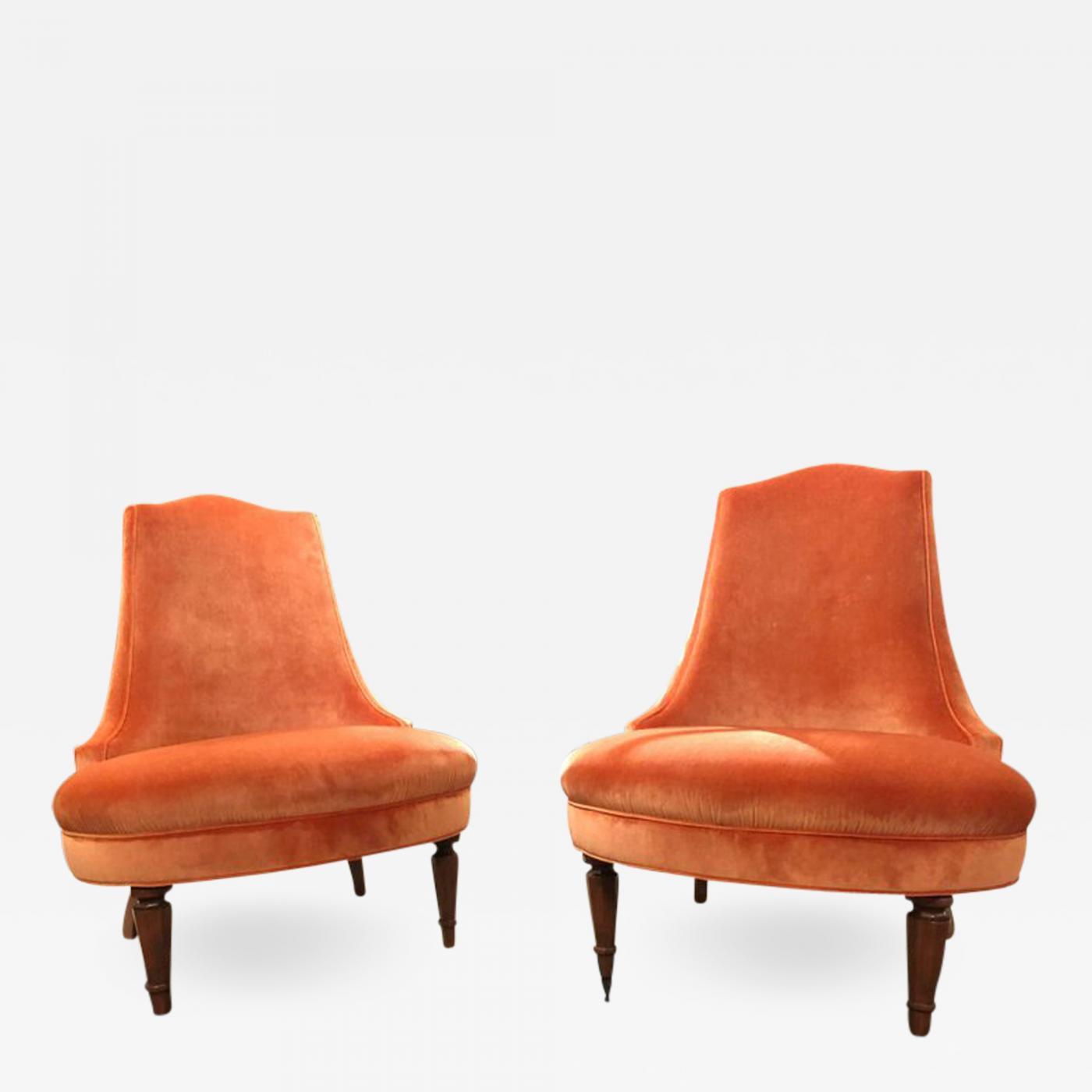 Listings / Furniture / Seating / Lounge Chairs · Pair Of Regency Orange  Velvet Slipper Chairs