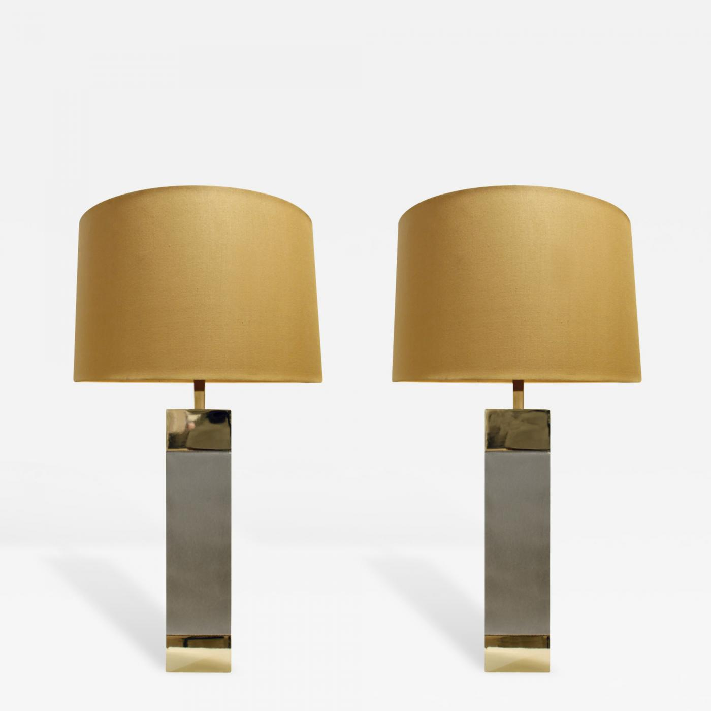 Pair Of Sleek Table Lamps In Brushed Chrome And Brass 1960s