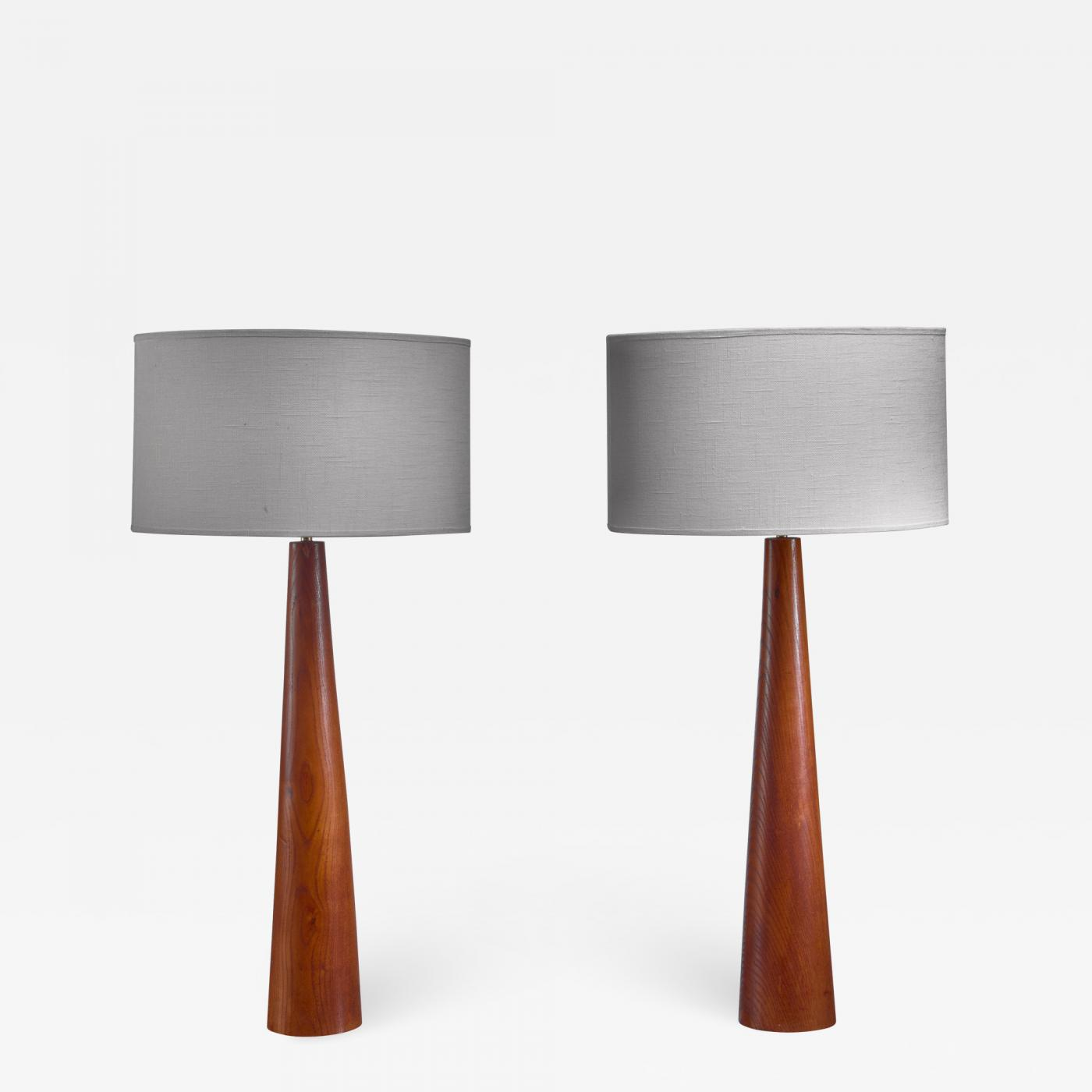 Pair Of Conical Wooden Table Lamps Sweden 1960s