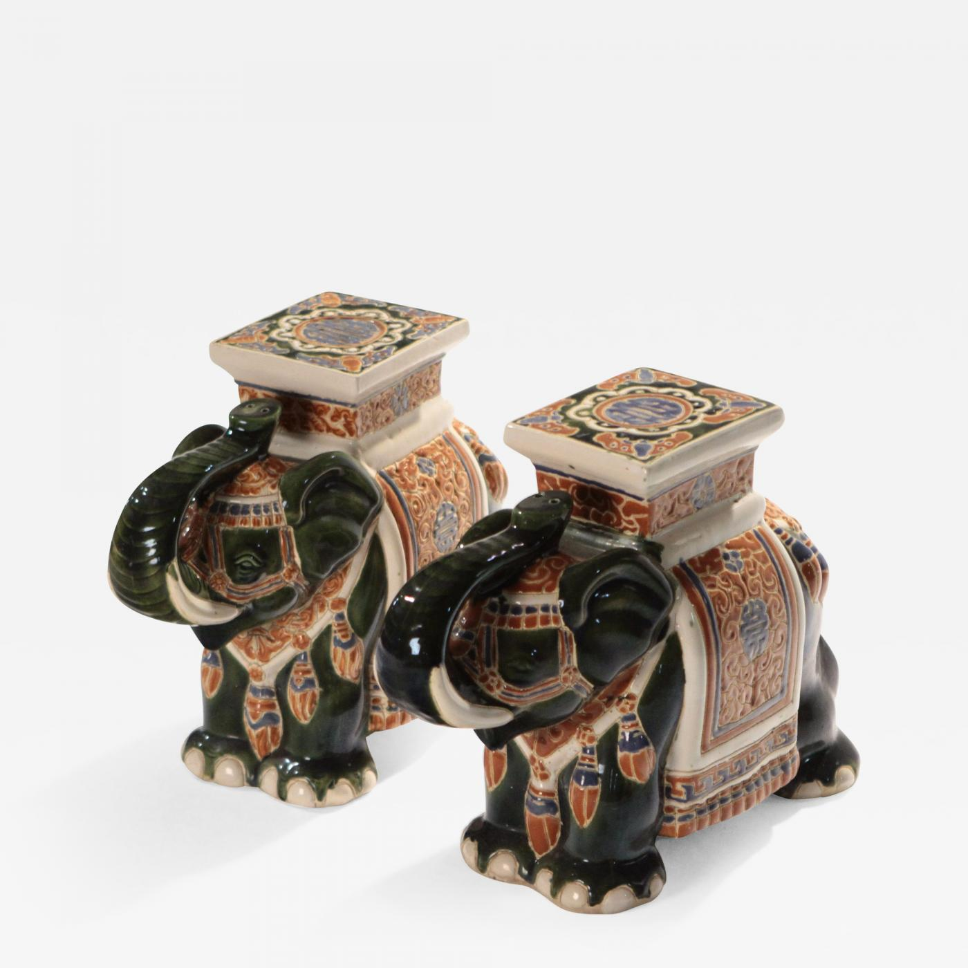 Pair of french hollywood regency Porcelain Elephant Decoration 1970s