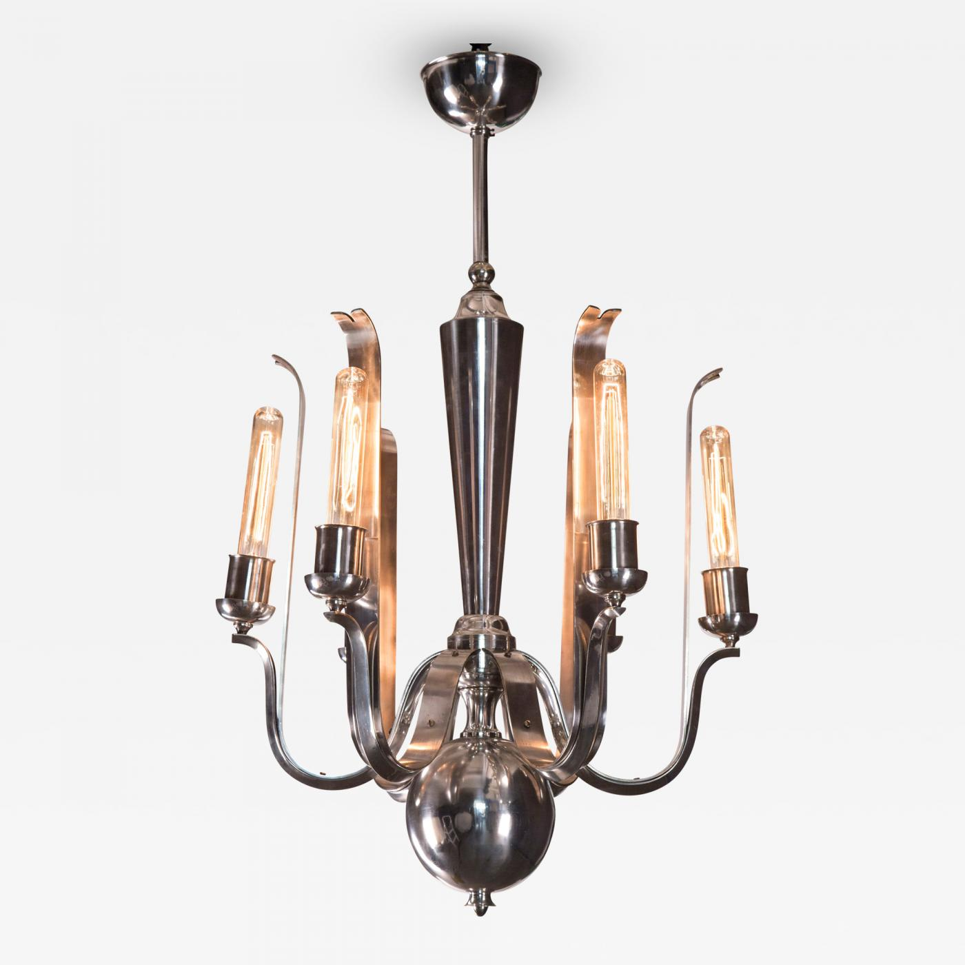 Paolo Buffa A Rare Italian 6 Light Silvered Bronze Chandelier