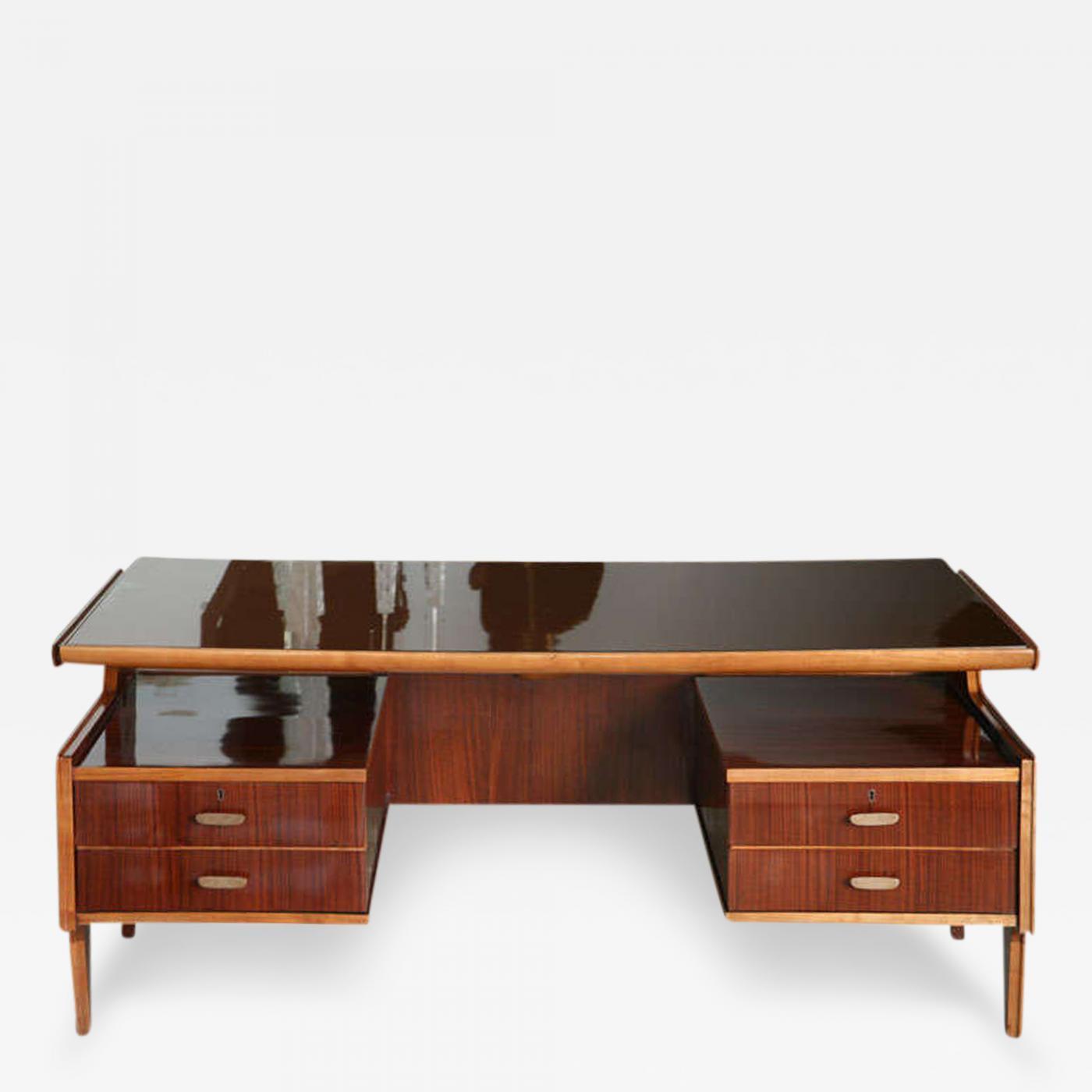 Paolo Buffa Italian Modern Mahogany Walnut Brass And Glass Desk