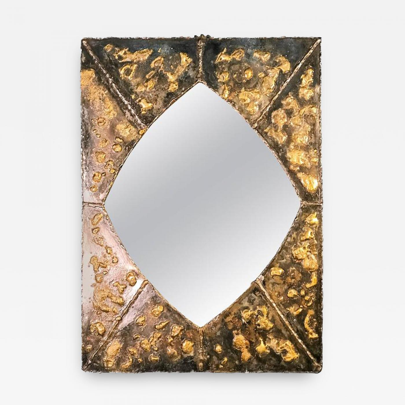 Textured Brutalist Elongated Diamond Shaped Mirror In The Manner Of Paul Evans
