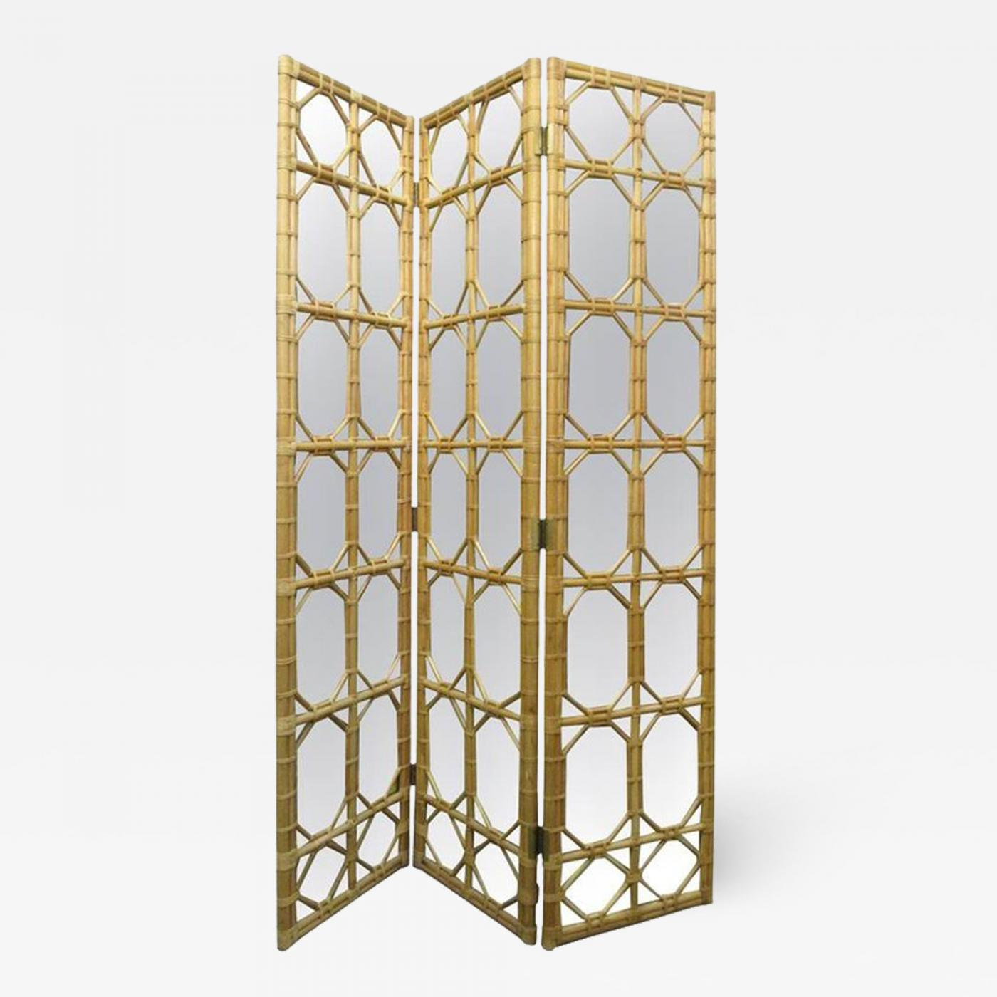 Paul Frankl - 1960s Three Panel Rattan and Mirror Floor Screen Room ...