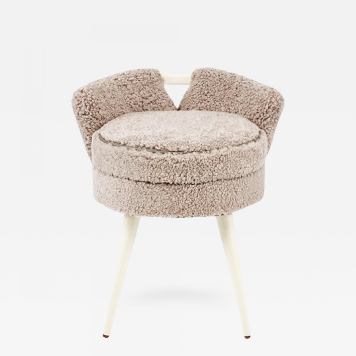 Stupendous Paul Frankl Rare Paul Frankl Swivel Vanity Stool In Shearling Andrewgaddart Wooden Chair Designs For Living Room Andrewgaddartcom