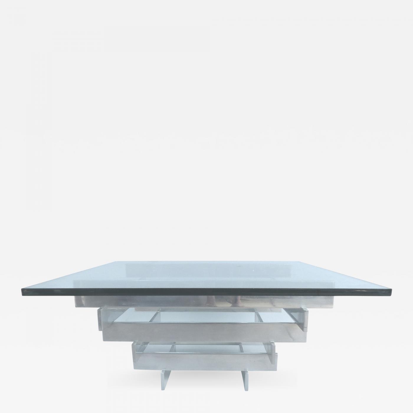 Paul Mayen Paul Mayen Aluminum And Glass Coffee Table For Habitat