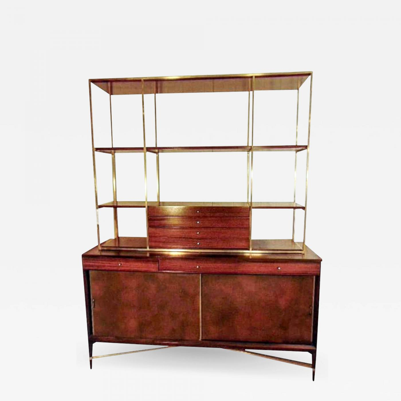 Paul Mccobb Rare Paul Mccobb Brass And Mahogany Bookcase With Leather Covered Doors