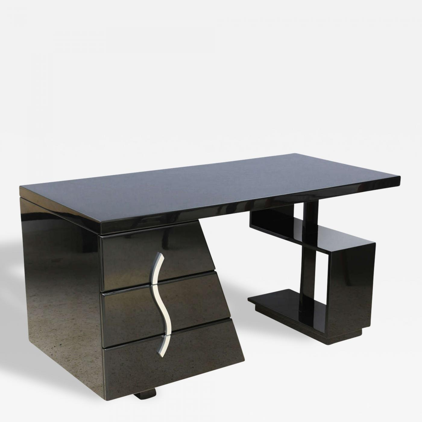 Paul T Frankl American Modern Black Lacquered Sculptural Desk
