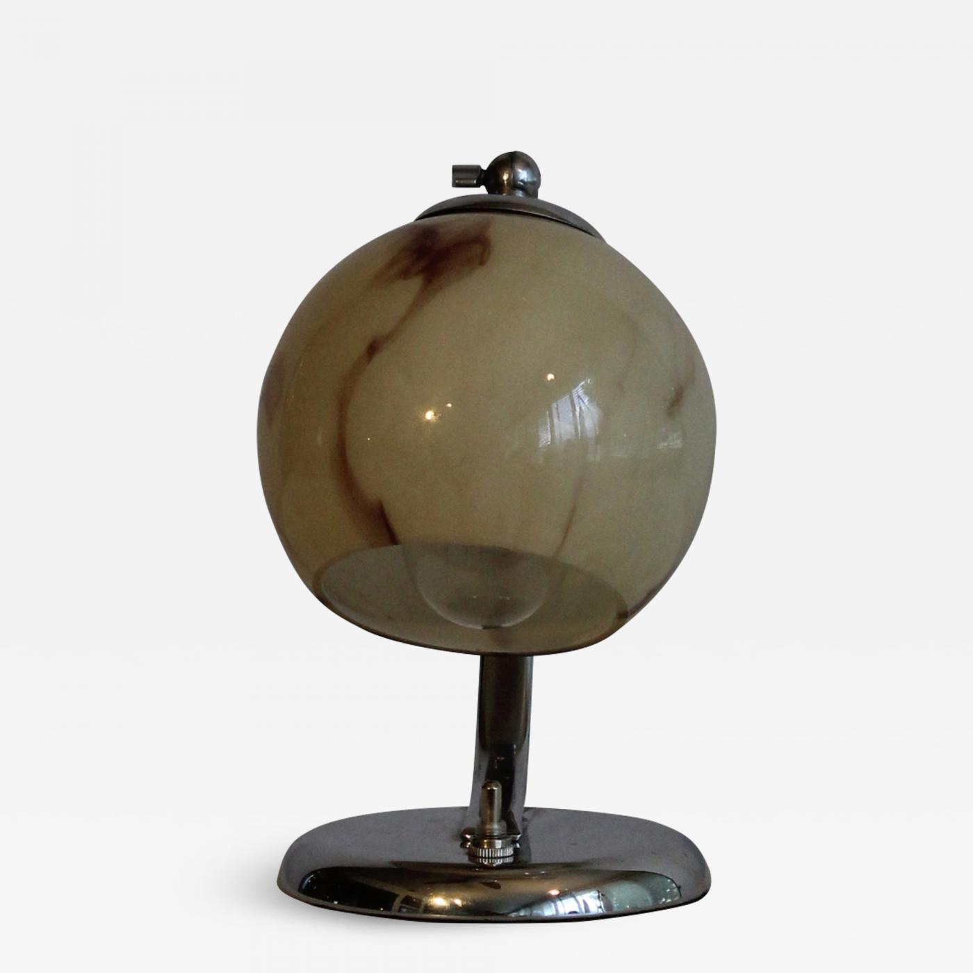 Art Deco Table Lamp On Chrome Base With Marbled Glass Shade