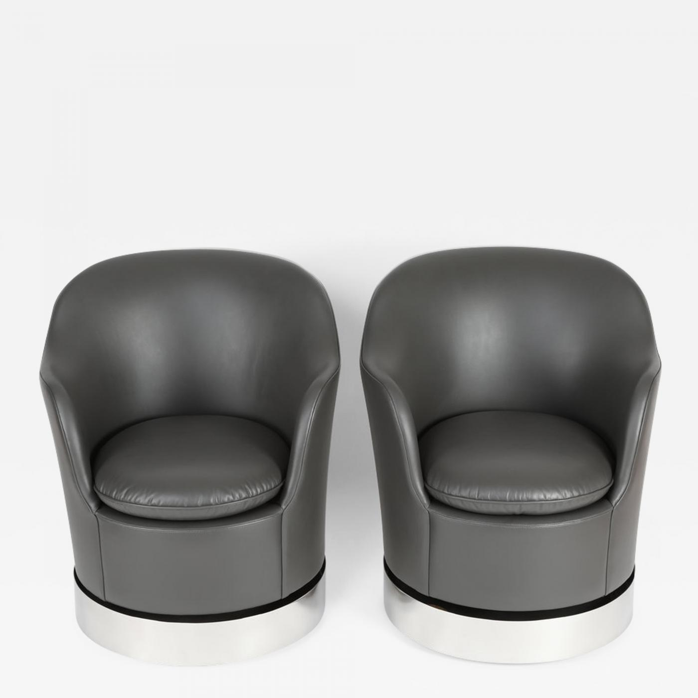 Fabulous Philip Enfield Pair Of Philip Enfield Tilt And Swivel Barrel Chairs On Casters Lamtechconsult Wood Chair Design Ideas Lamtechconsultcom