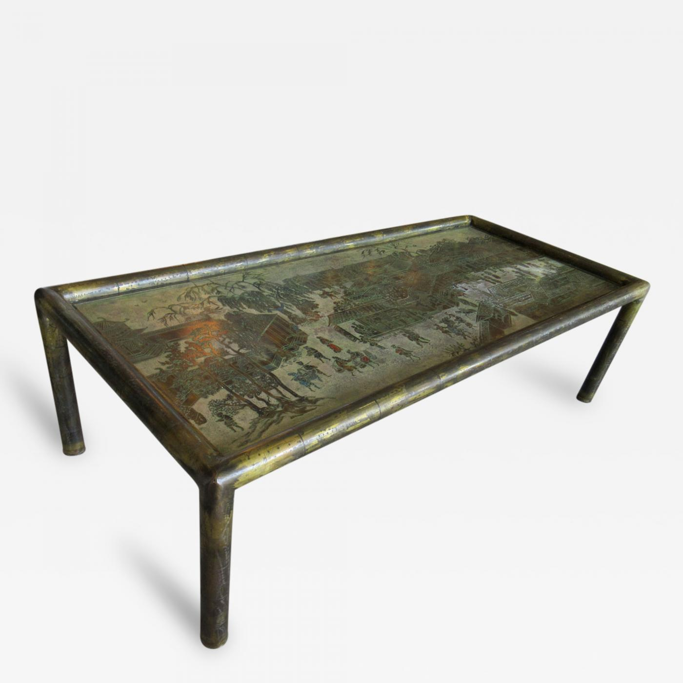 Philip kelvin laverne philip and kelvin laverne etched bronze coffee table Bronze coffee tables