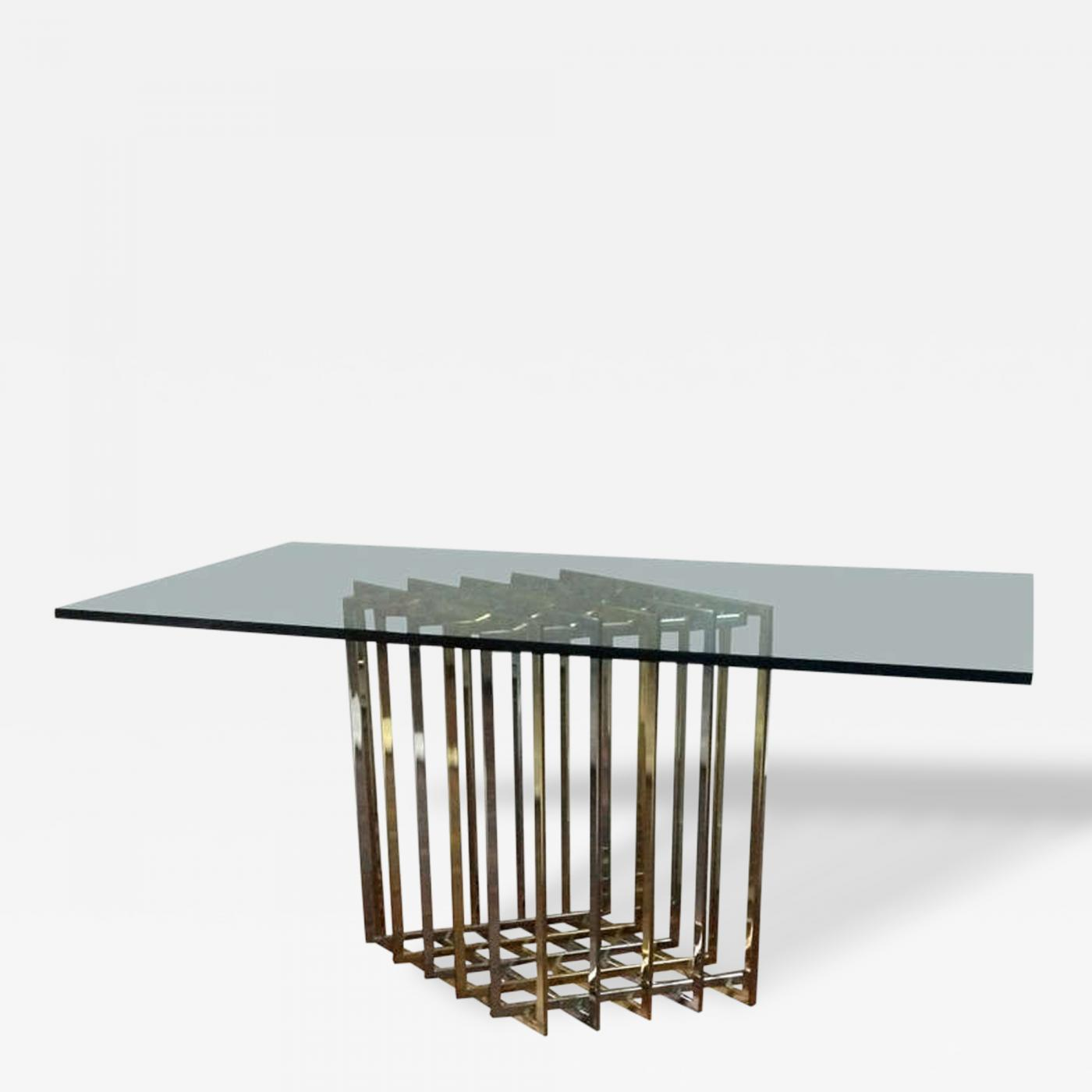 Pierre Cardin Pierre Cardin Sculptural Grid Brass and Chrome Table