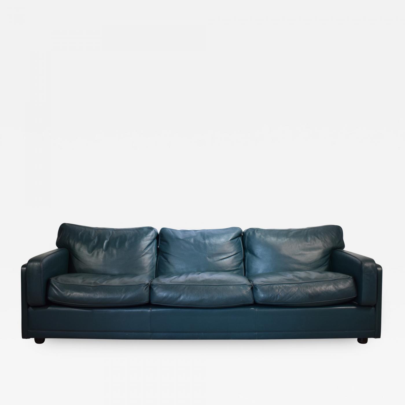 Poltrona Frau.Poltrona Frau Socrate Three Seat Sofa In Green Petrol Leather