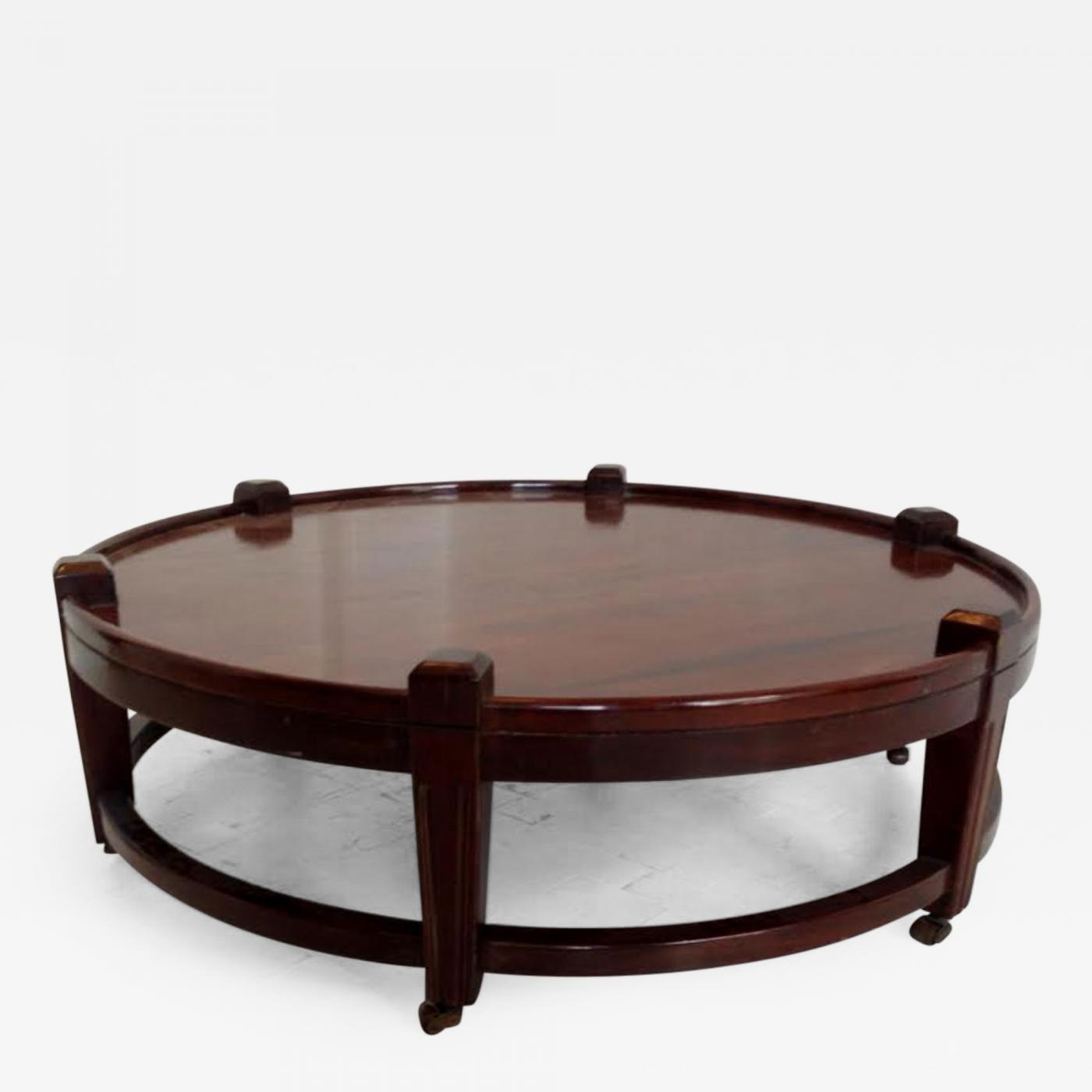 - Post War Large Round Coffee Table On Wheels