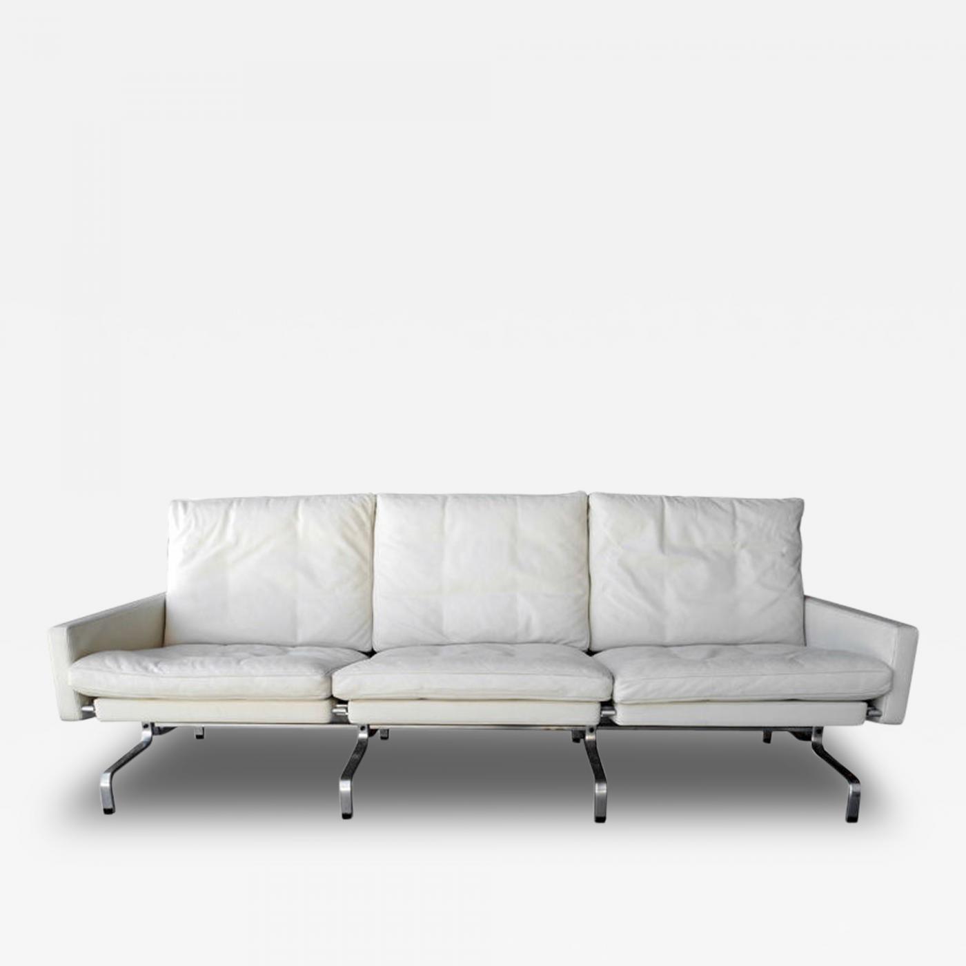 Poul Kj¦rholm PK31 White Leather Sofa by Poul Kjaerholm for