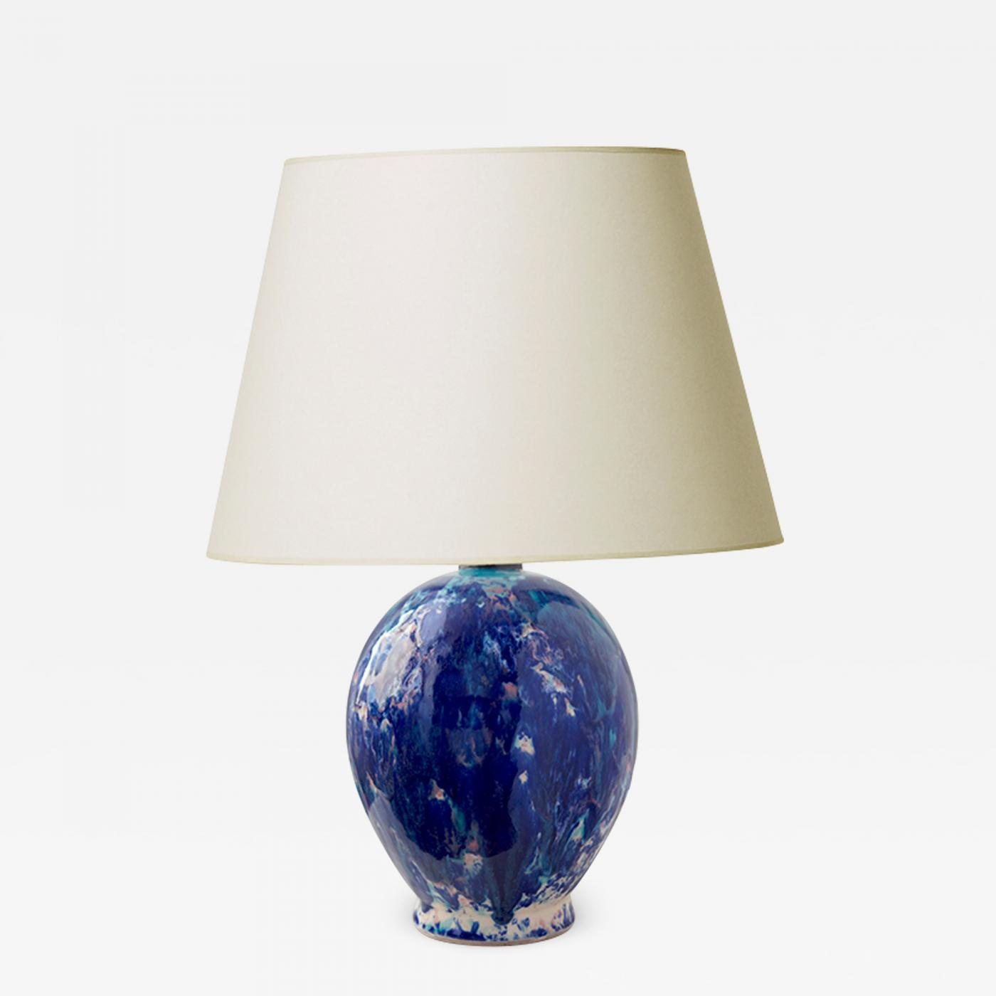 Primavera Atelier Du Printemps Art Deco Table Glazed In Vivid Blues
