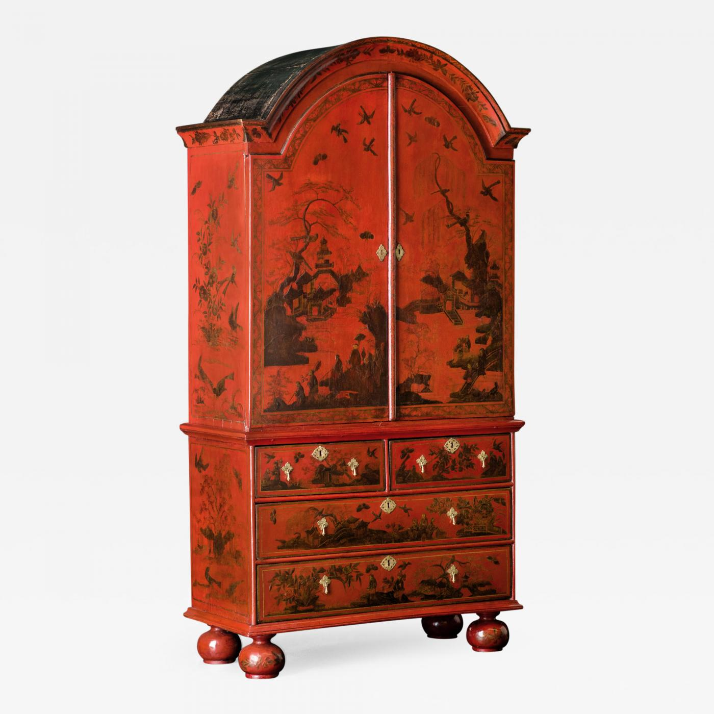 A Queen Anne Red Japanned Cabinet on Chest