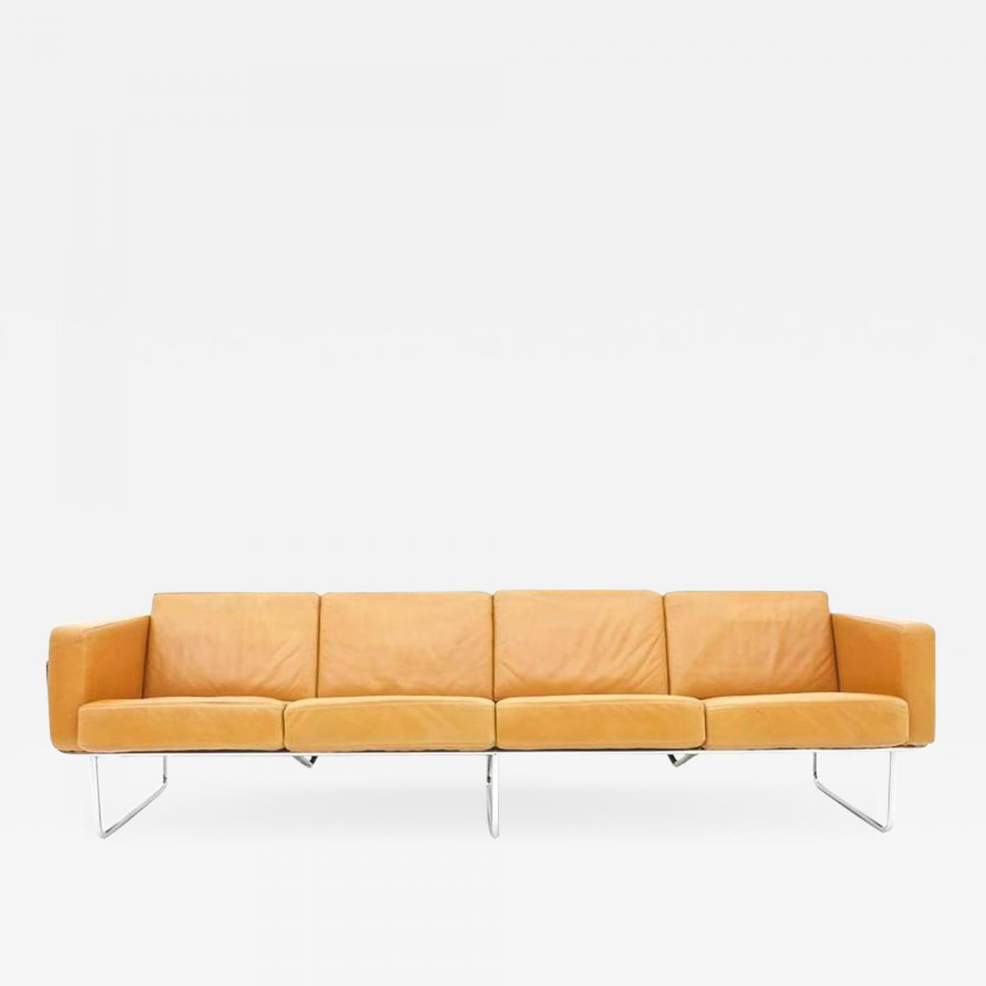 Strässle - Rare Four-Seat Leather Sofa by Hans Eichenberger for ...