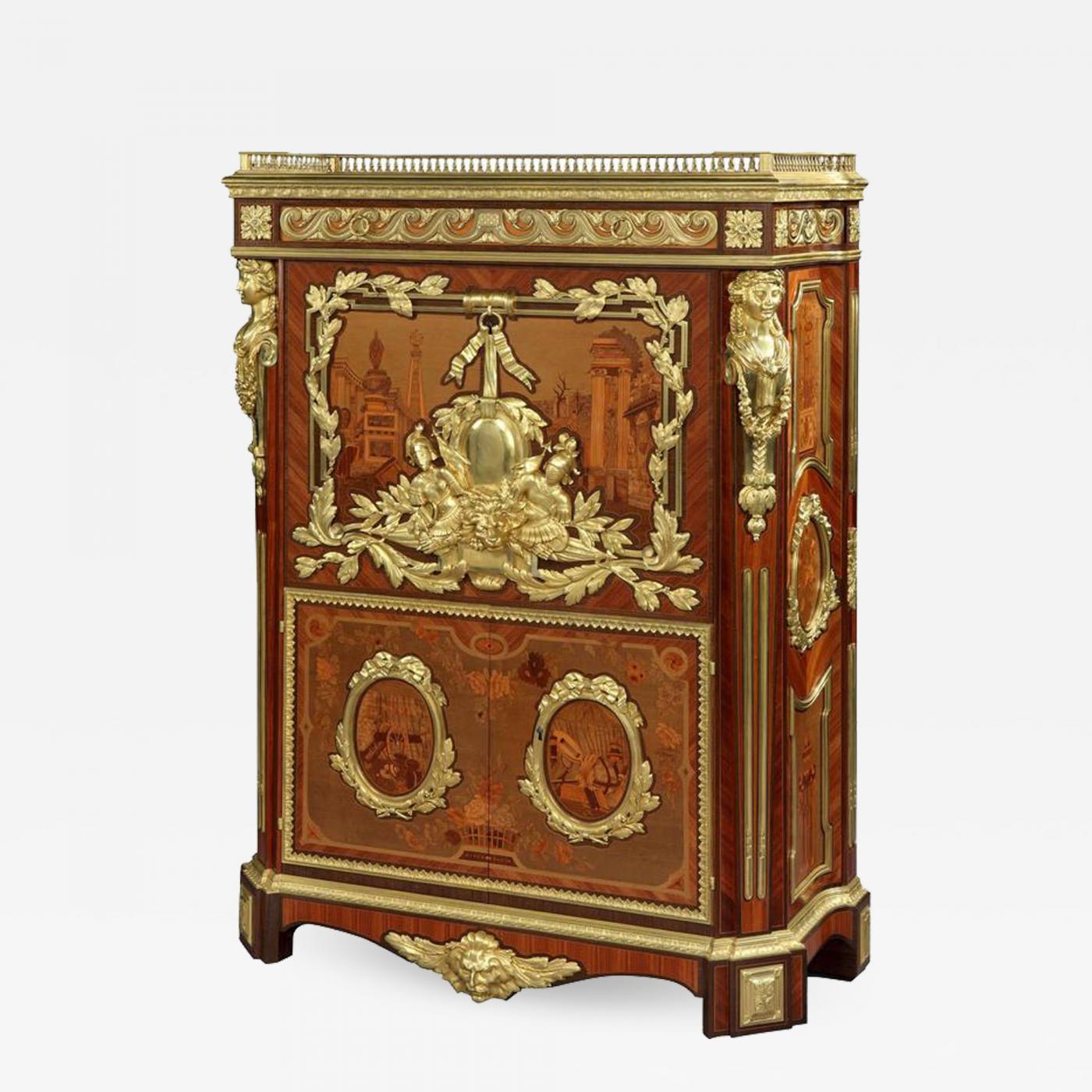 Listings / Furniture / Case Pieces U0026 Storage / Secretaries U0026 Desks · Rare French  Marquetry ...
