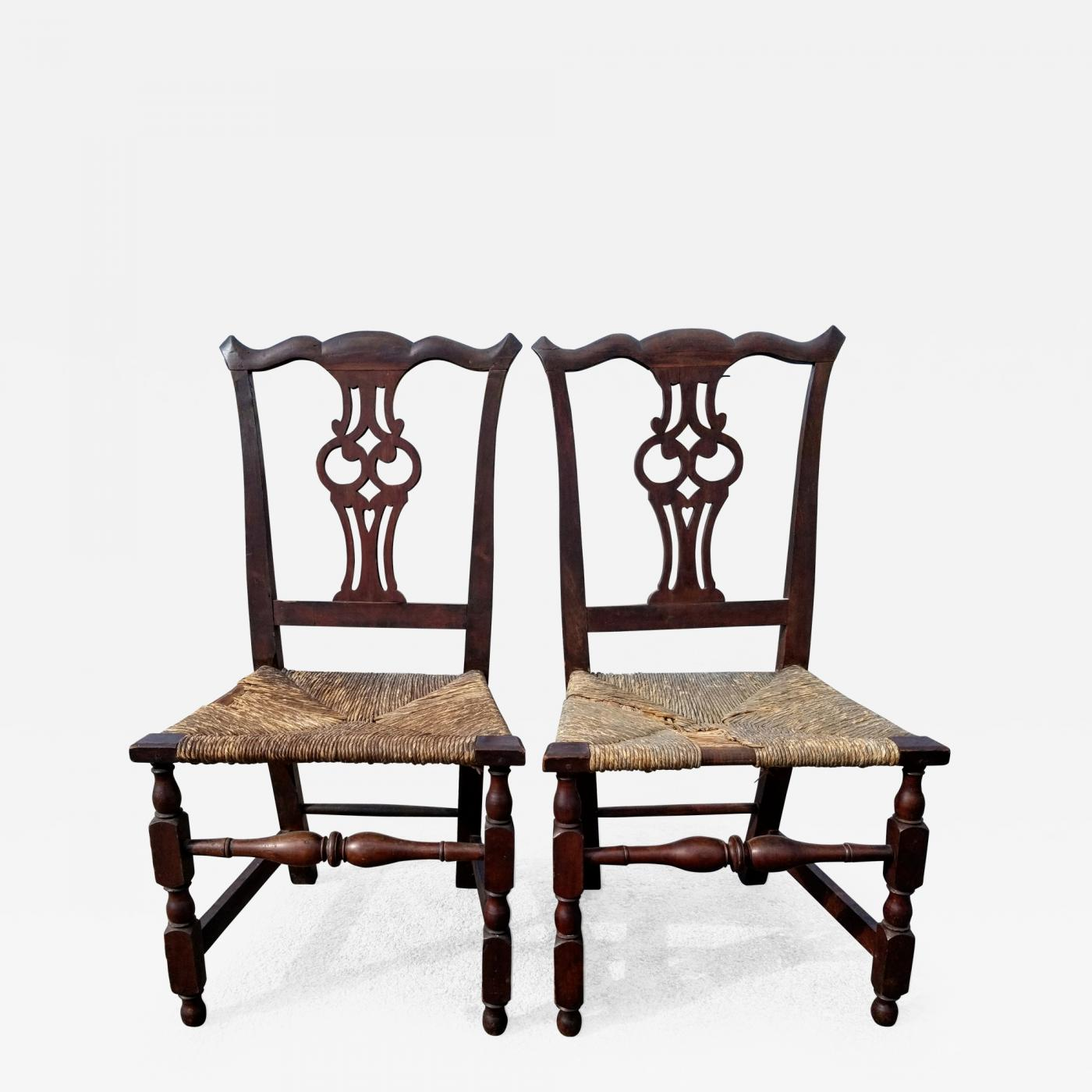 Rare Matched Pair Of Transitional Chippendale Chairs Salem Mass