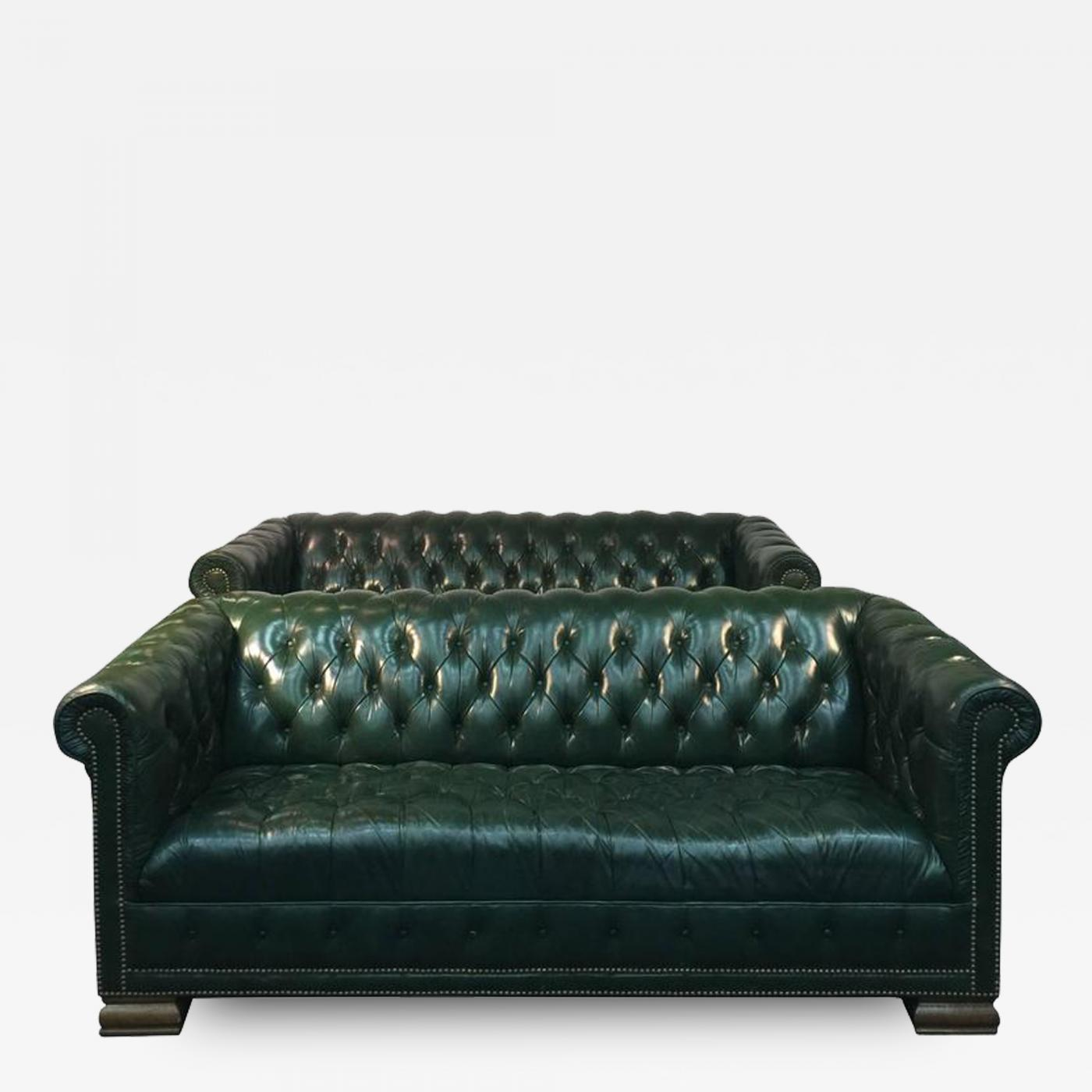 Rare Pair Of Vintage Chesterfield Sofas In Hunter Green With