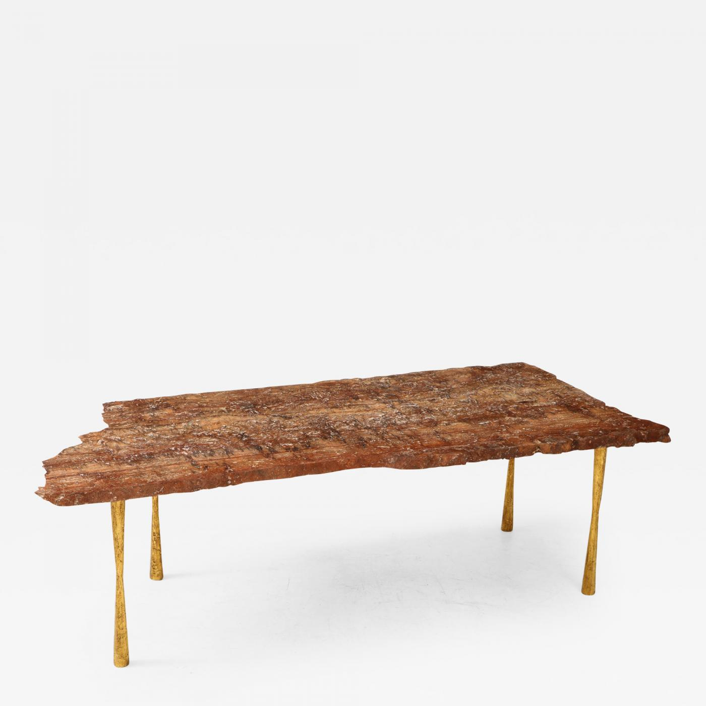 Red Travertine Natural Edge Slab Stone And Gold Leaf Coffee Table Italy