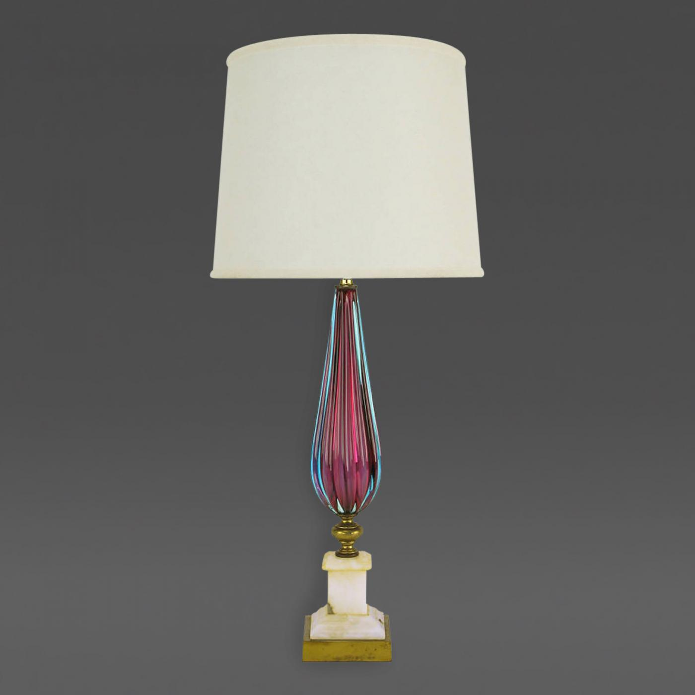 Reeded amethyst aquamarine murano glass table lamp listings furniture lighting table lamps reeded amethyst aquamarine murano glass aloadofball