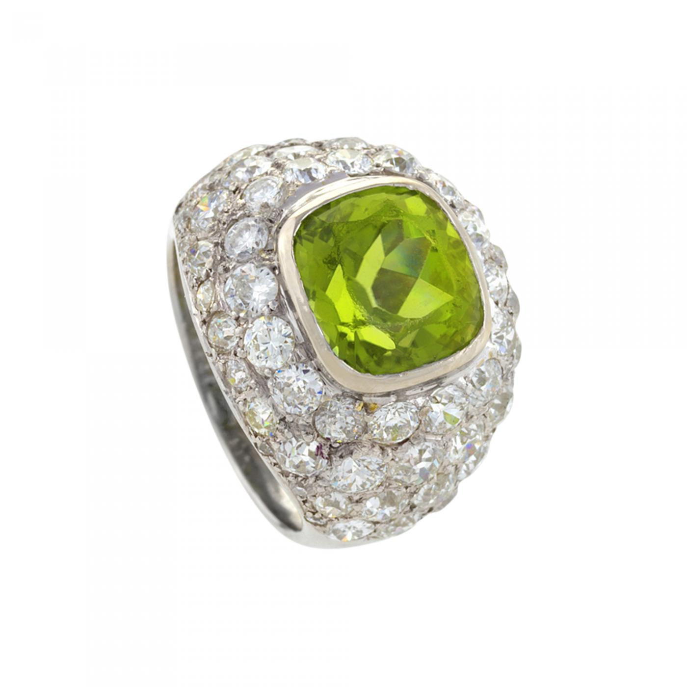 b2d41f2fe4 René Boivin Art Deco Platinum, Peridot and Diamond Ring