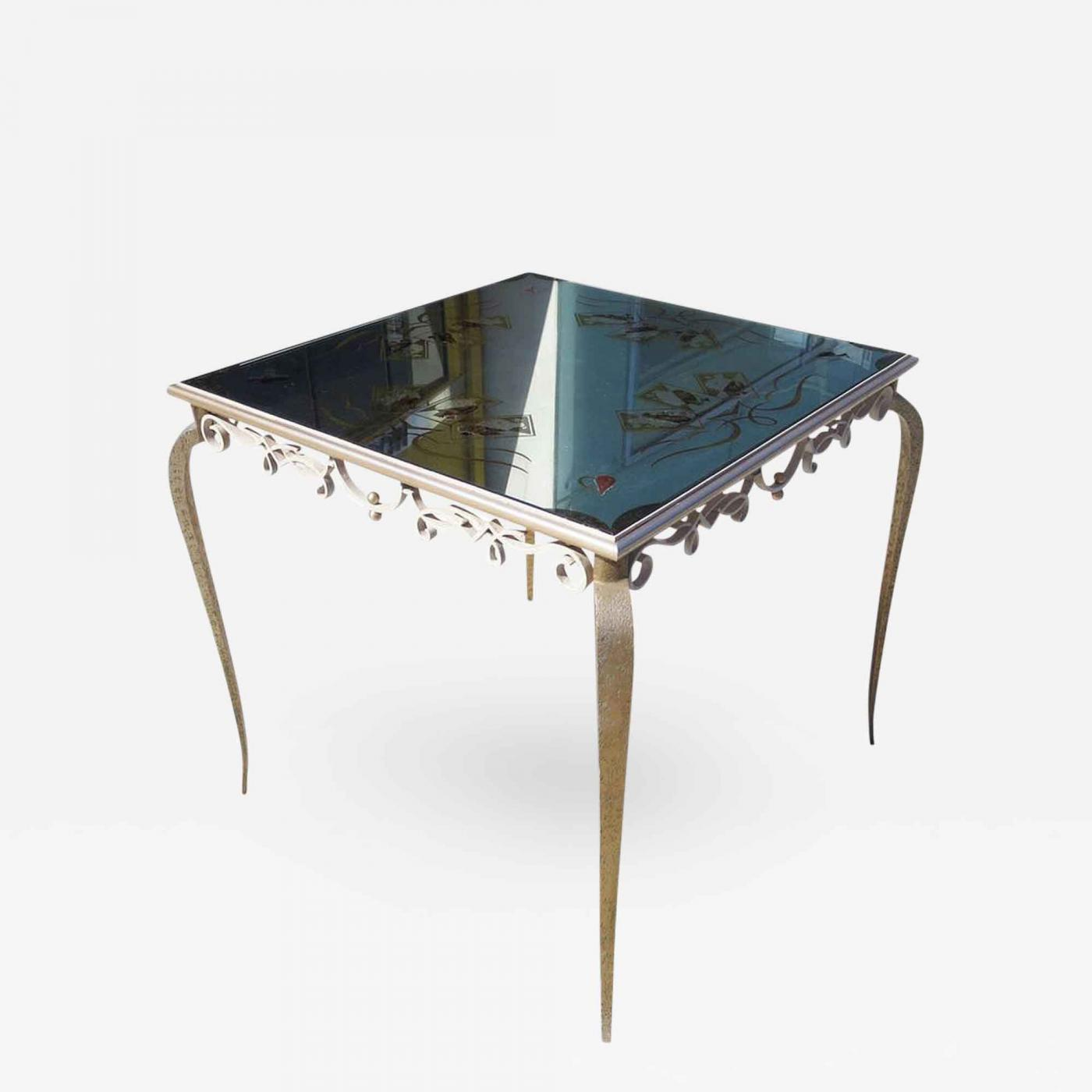 René Drouet églomisé Mirrored Game Table in the Manner of Rene
