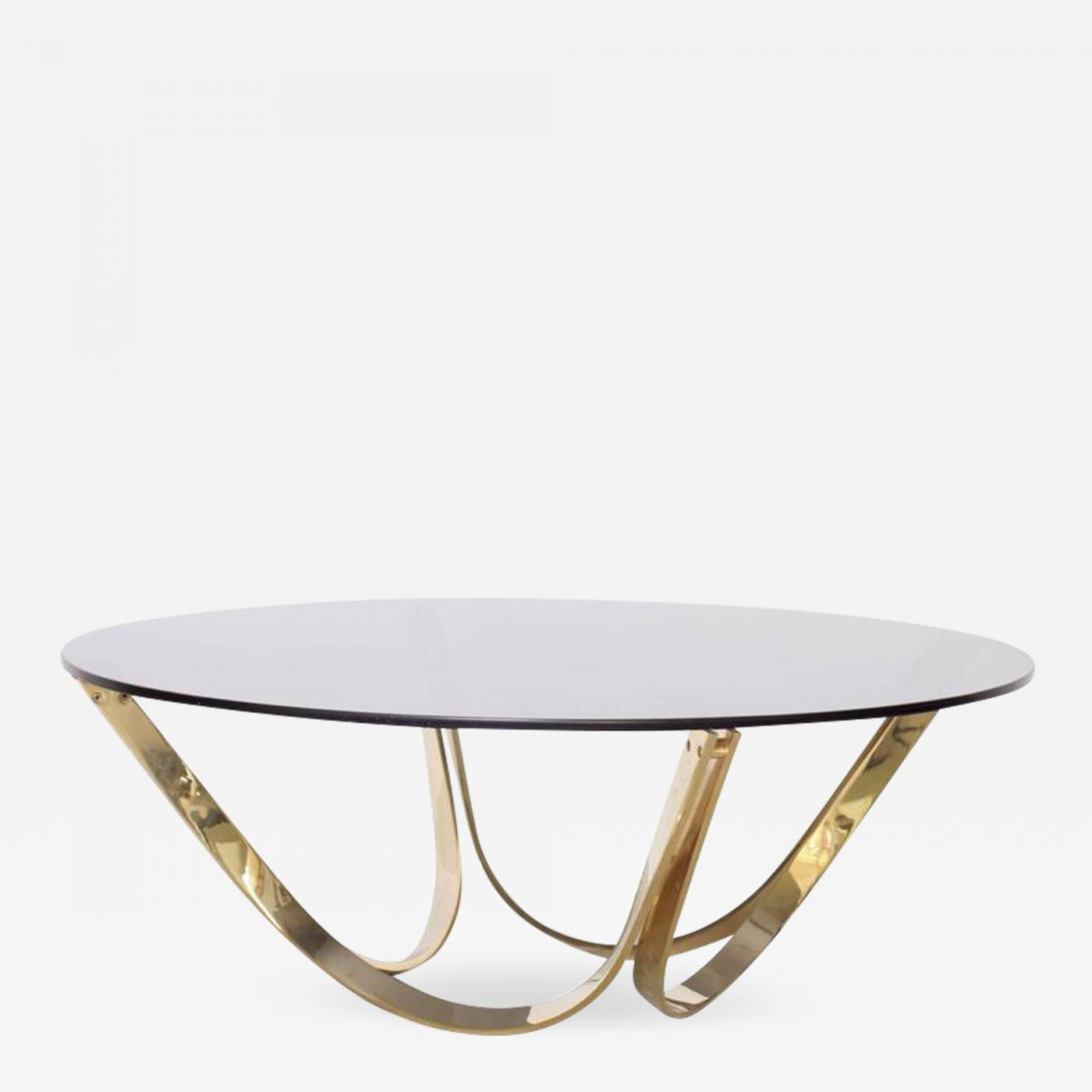 Brass And Smoked Glass Coffee Table By TriMark, Circa, 1971